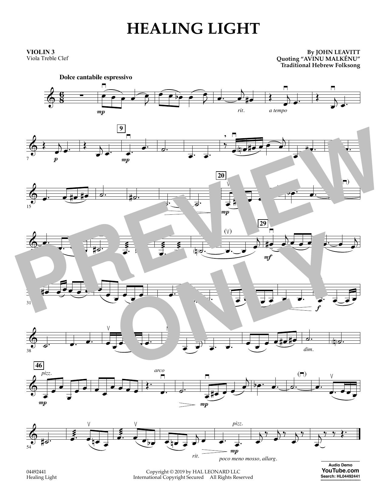 Healing Light - Violin 3 (Viola Treble Clef) (Orchestra)