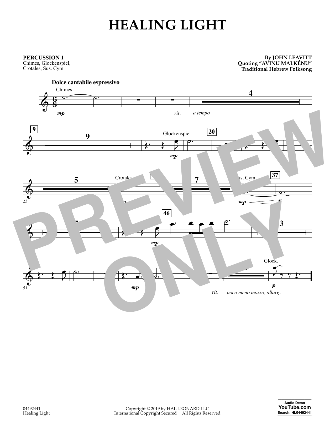 Healing Light - Percussion 1 (Orchestra)