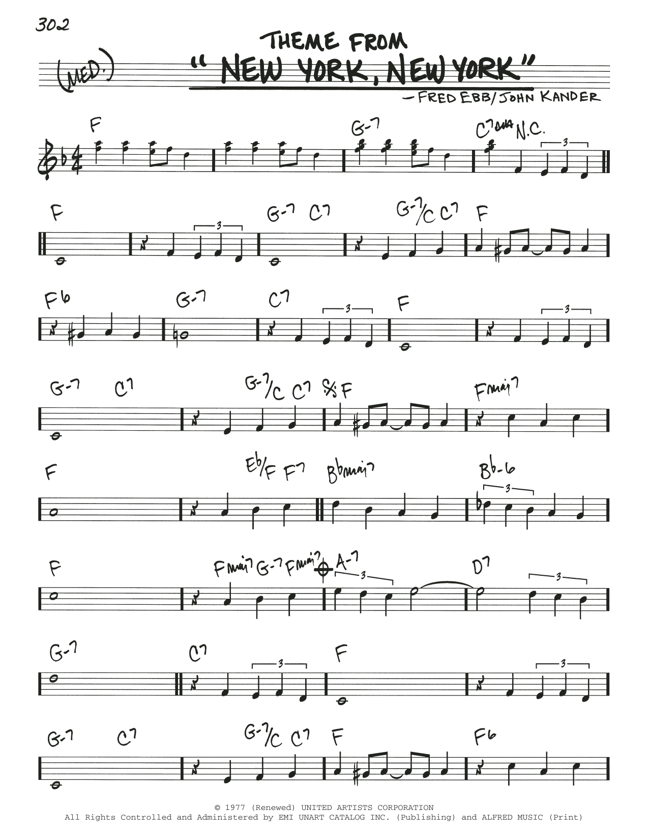 """Theme From """"New York, New York"""" (Real Book – Melody & Chords)"""