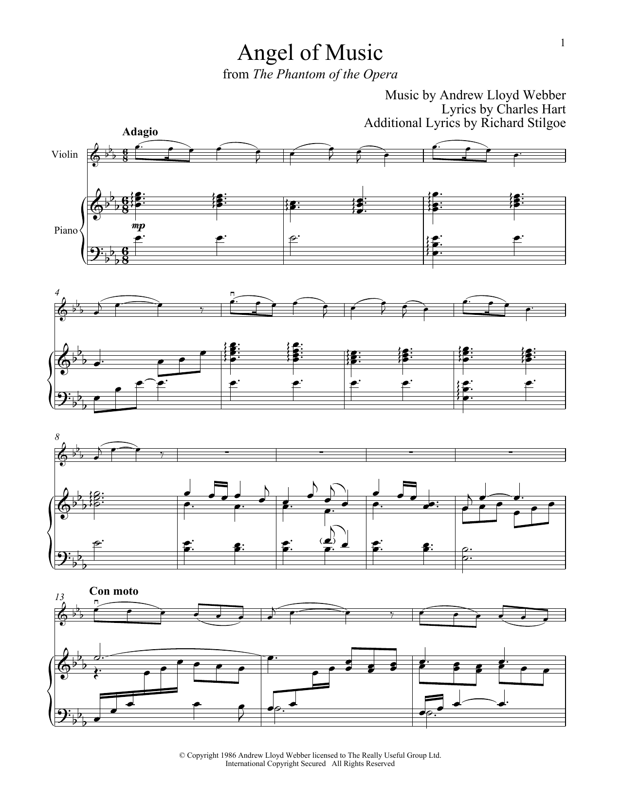 Angel Of Music (from The Phantom of The Opera) (Violin and Piano)