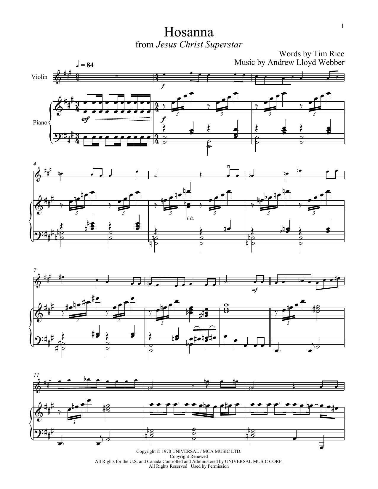 Hosanna (from Jesus Christ Superstar) (Violin and Piano)