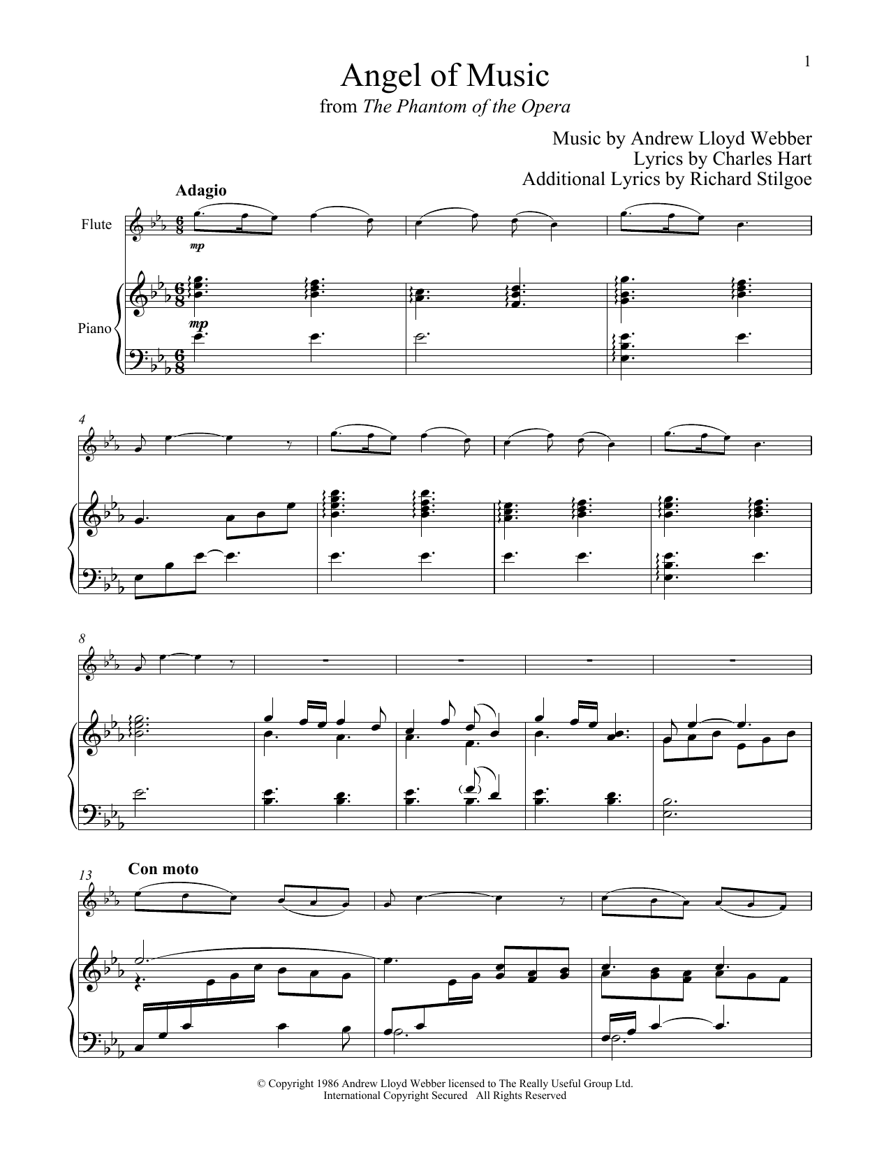 Angel Of Music (from The Phantom of The Opera) (Flute and Piano)