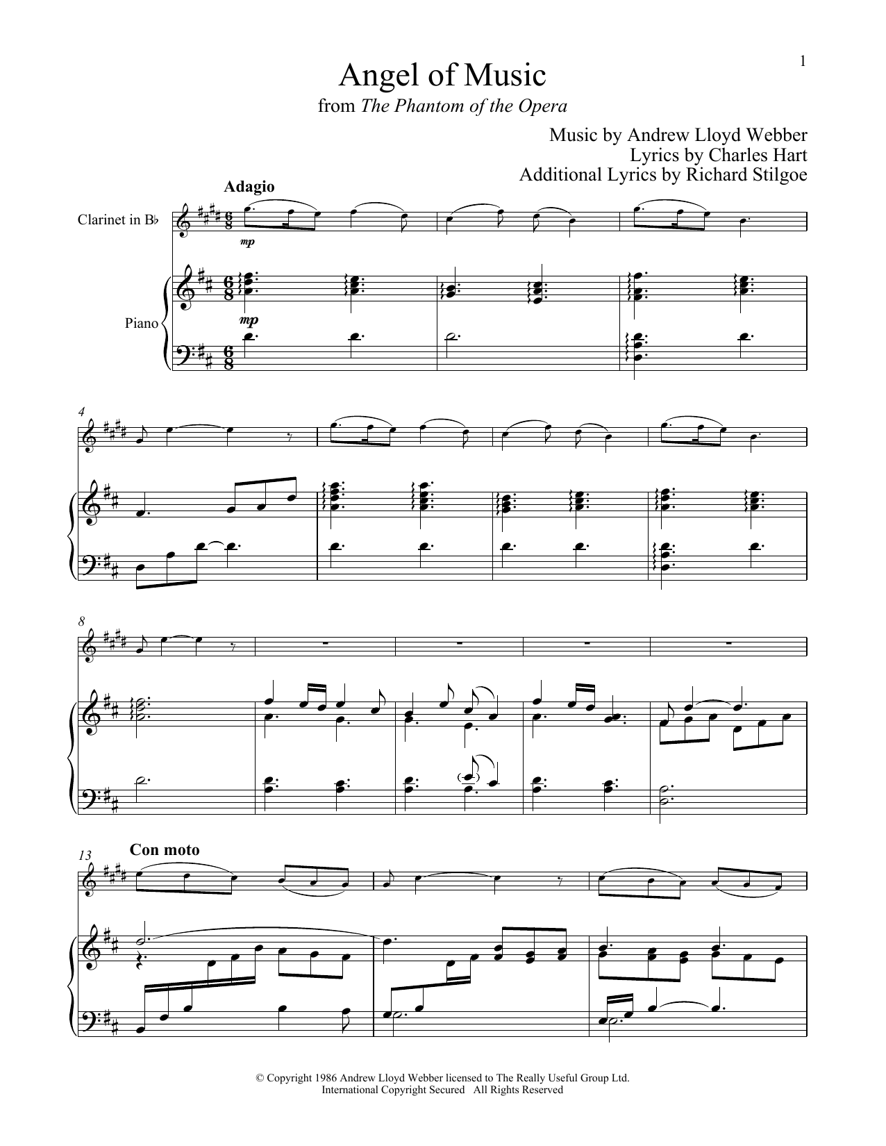 Angel Of Music (from The Phantom of The Opera) (Clarinet and Piano)