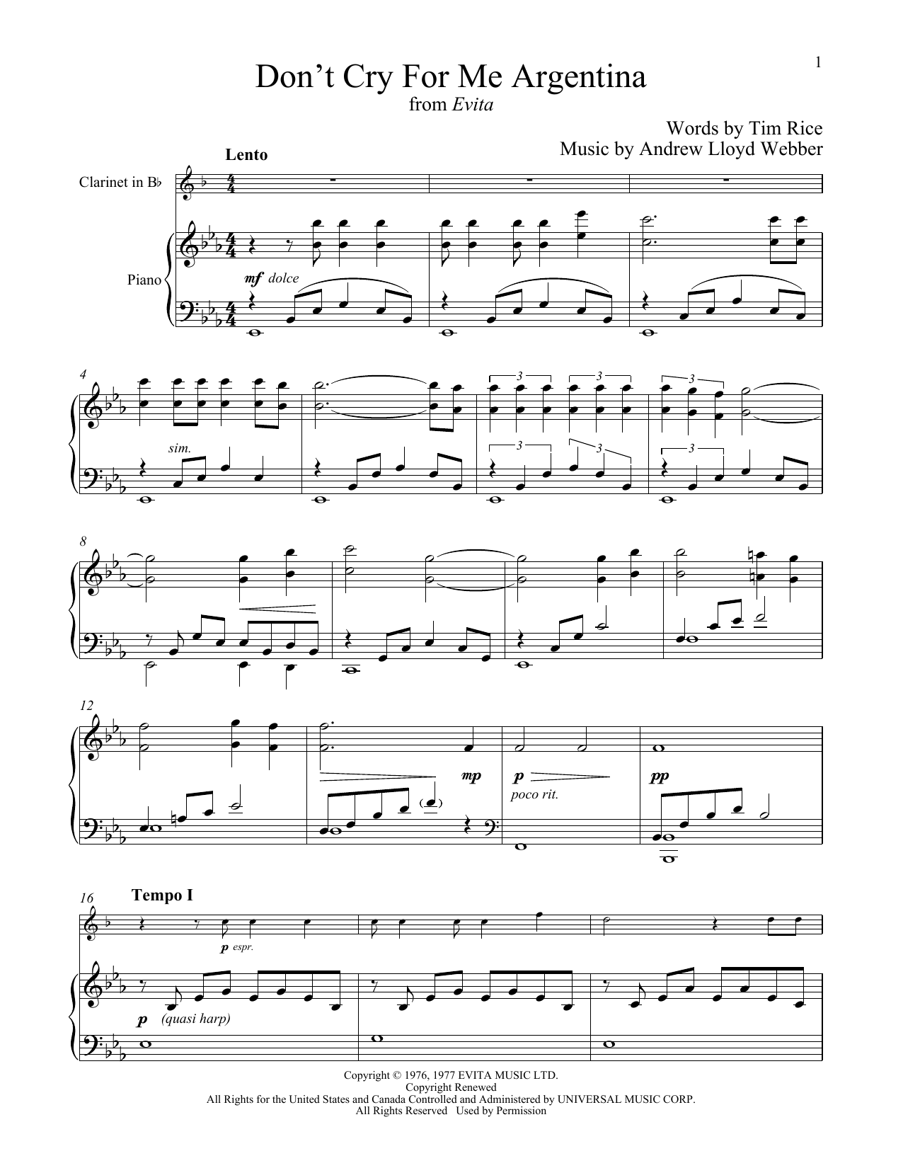 Don't Cry For Me Argentina (Clarinet and Piano)