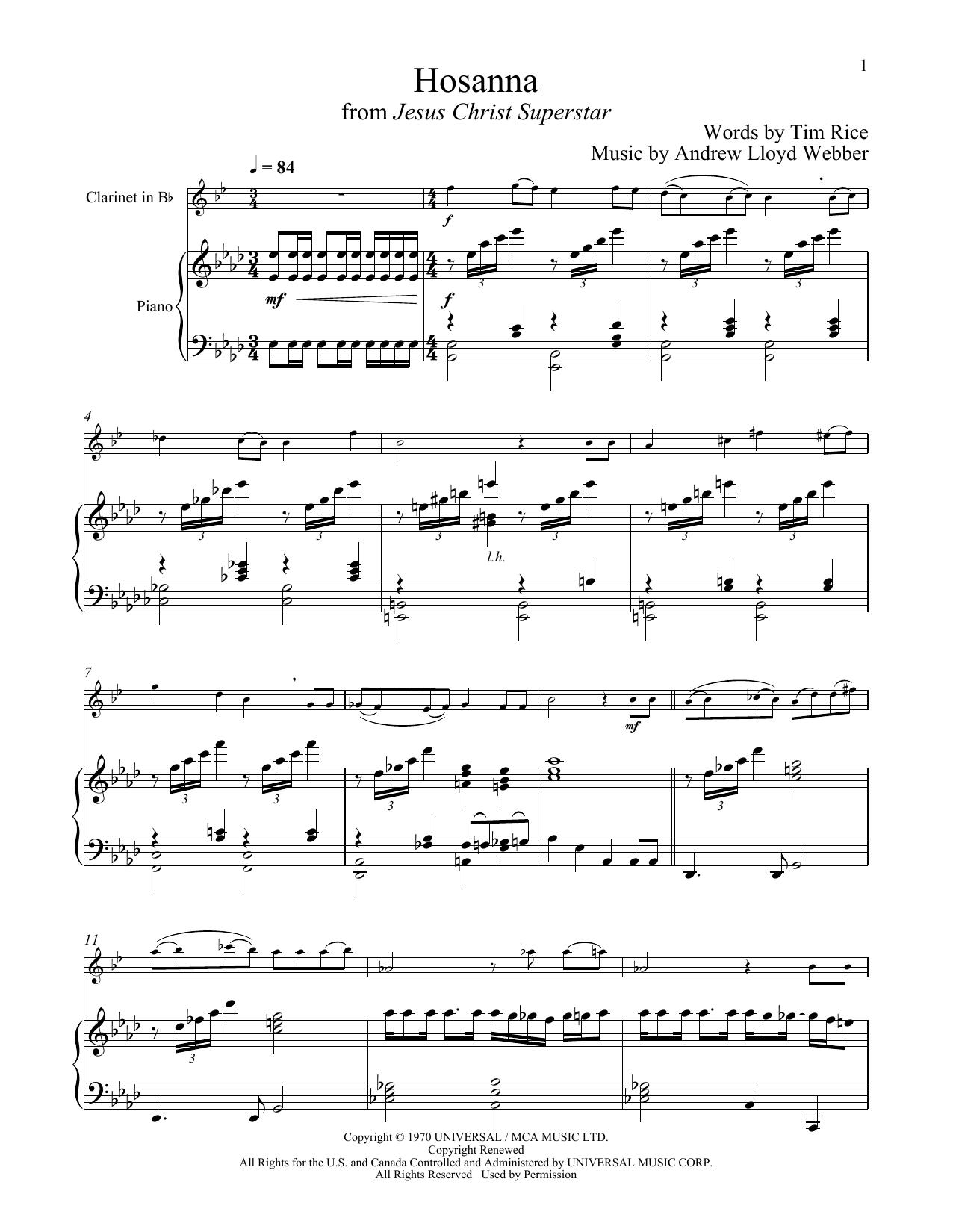 Hosanna (from Jesus Christ Superstar) (Clarinet and Piano)