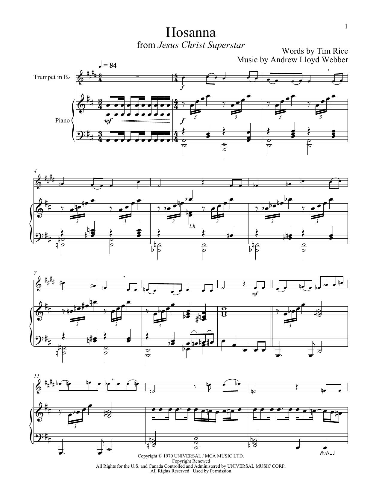 Hosanna (from Jesus Christ Superstar) (Trumpet and Piano)