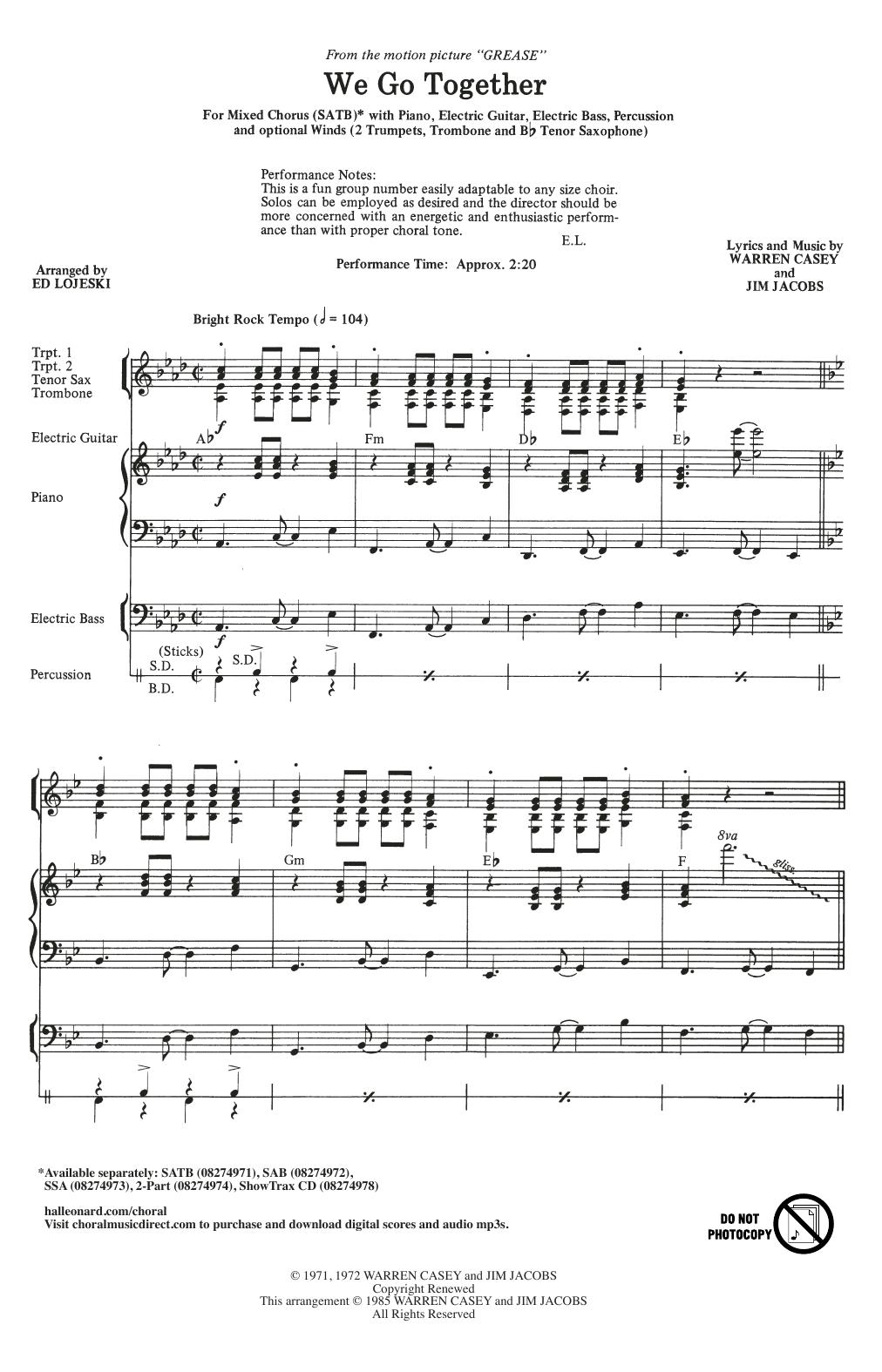 We Go Together (from Grease) (arr. Ed Lojeski) (SATB Choir)