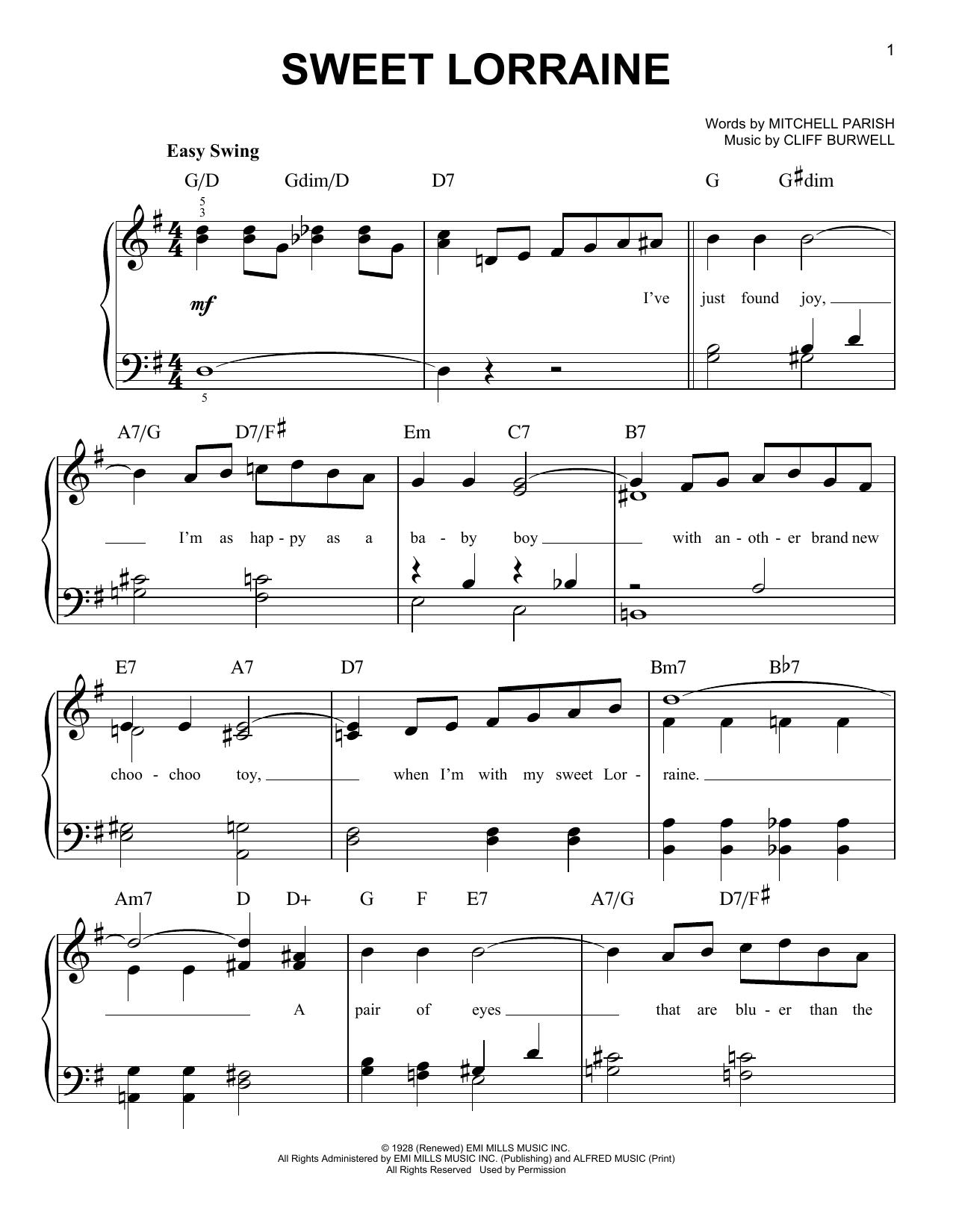 Sweet Lorraine (Easy Piano)