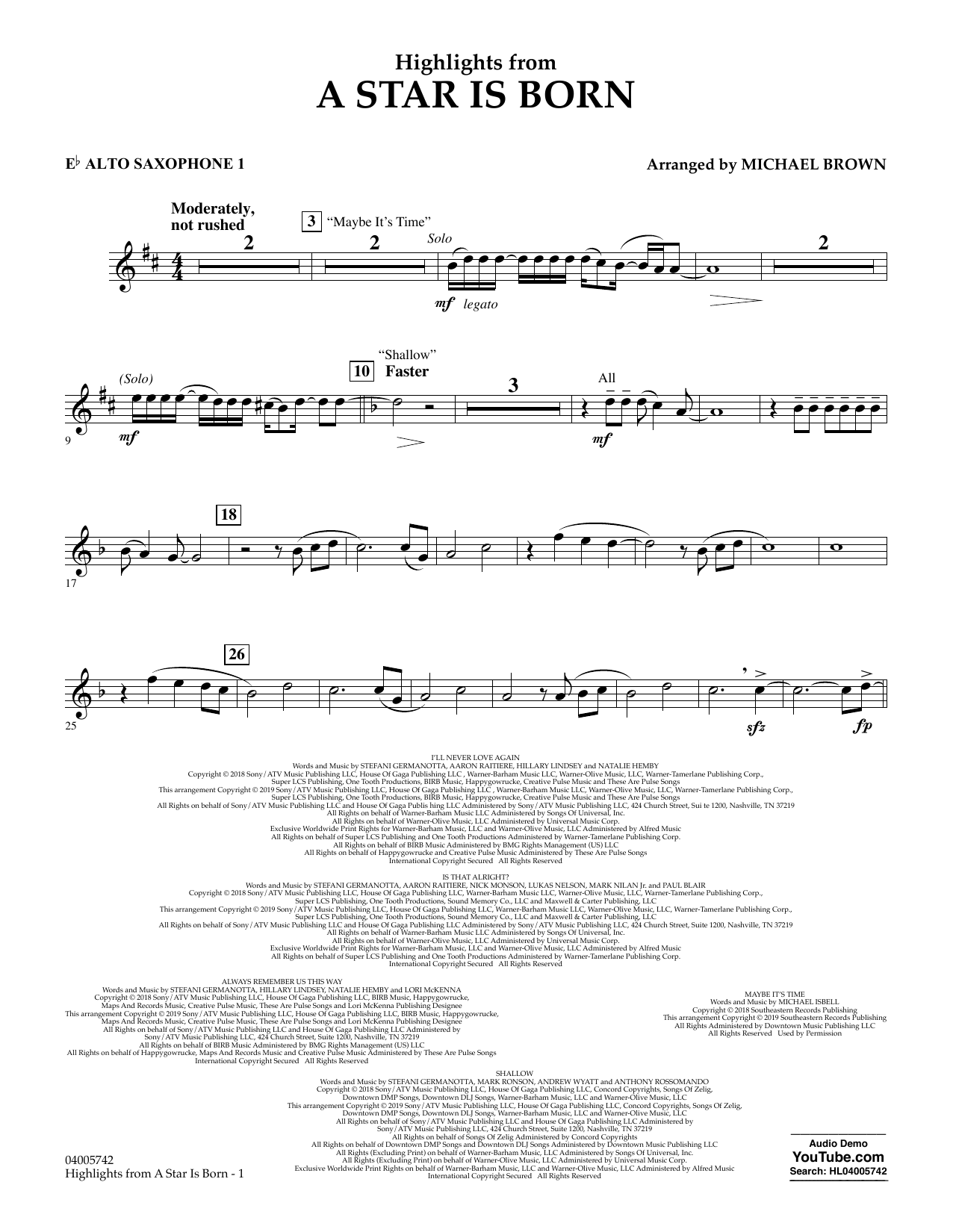 Highlights from A Star Is Born - Eb Alto Saxophone 1 (Concert Band)