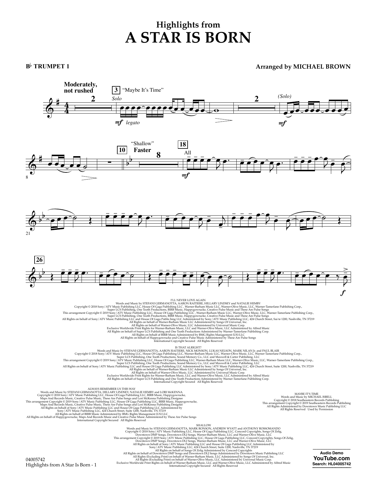 Highlights from A Star Is Born - Bb Trumpet 1 (Concert Band)