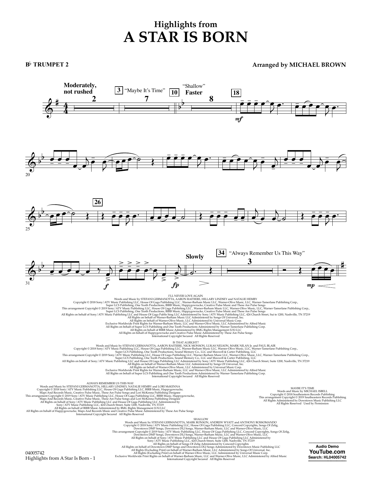 Highlights from A Star Is Born - Bb Trumpet 2 (Concert Band)