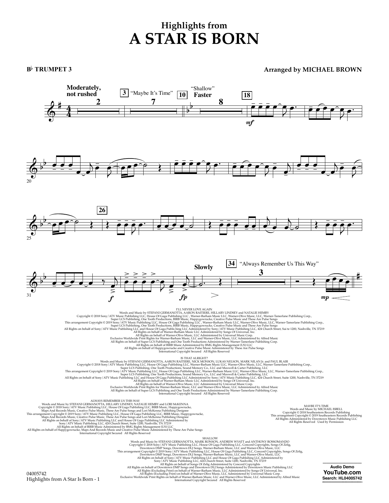 Highlights from A Star Is Born - Bb Trumpet 3 (Concert Band)