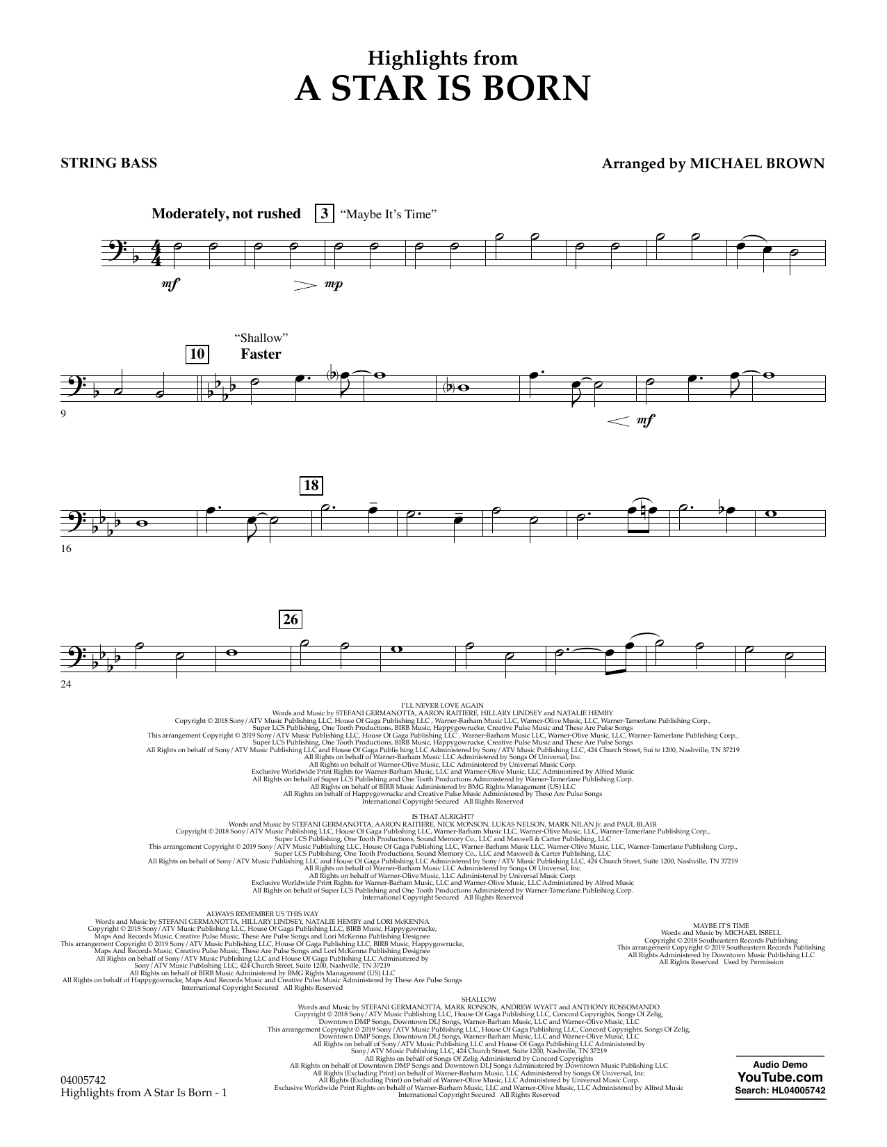 Highlights from A Star Is Born - String Bass (Concert Band)