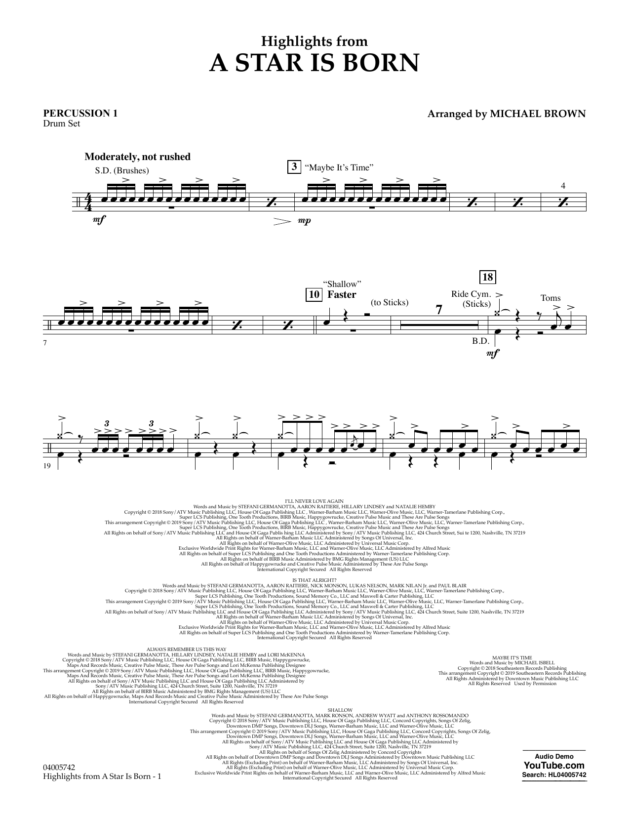 Highlights from A Star Is Born - Percussion 1 (Concert Band)
