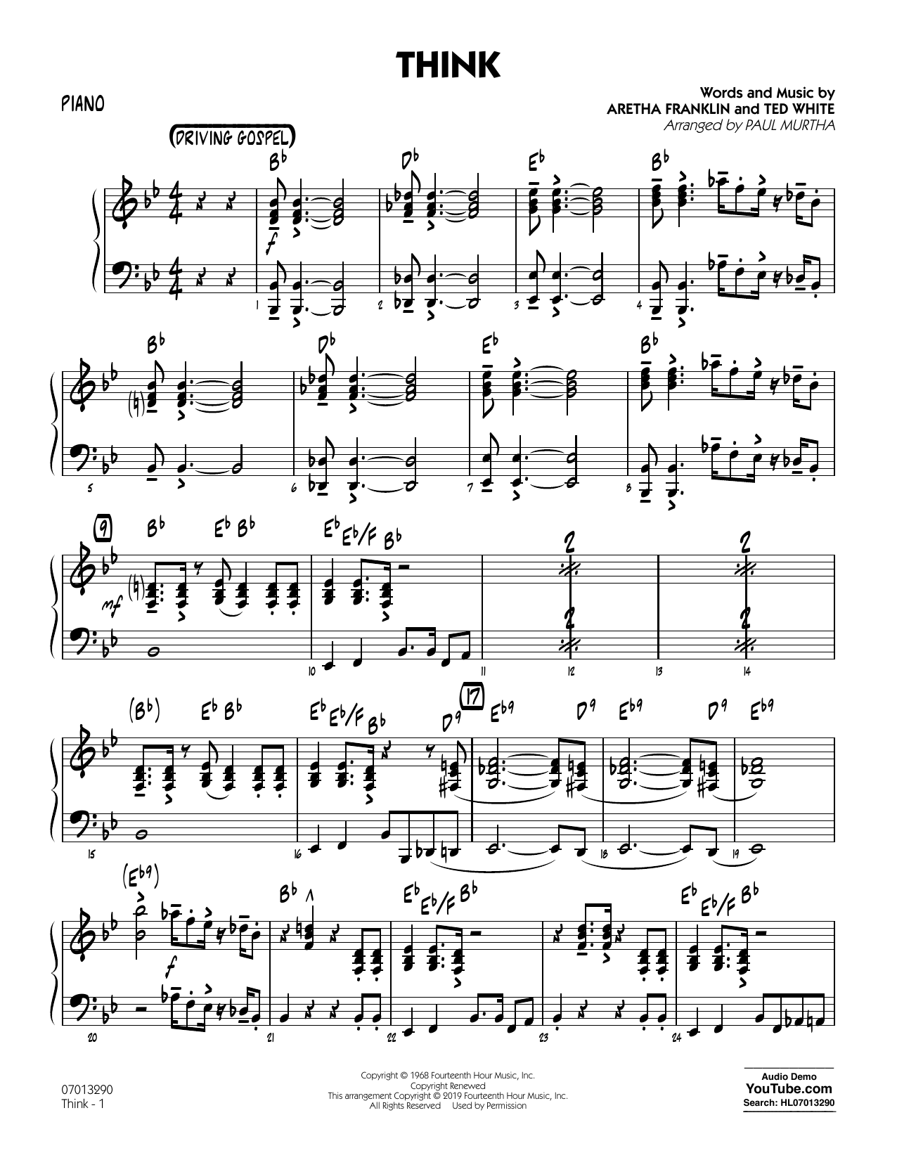 Think (arr. Paul Murtha) - Piano (Jazz Ensemble)