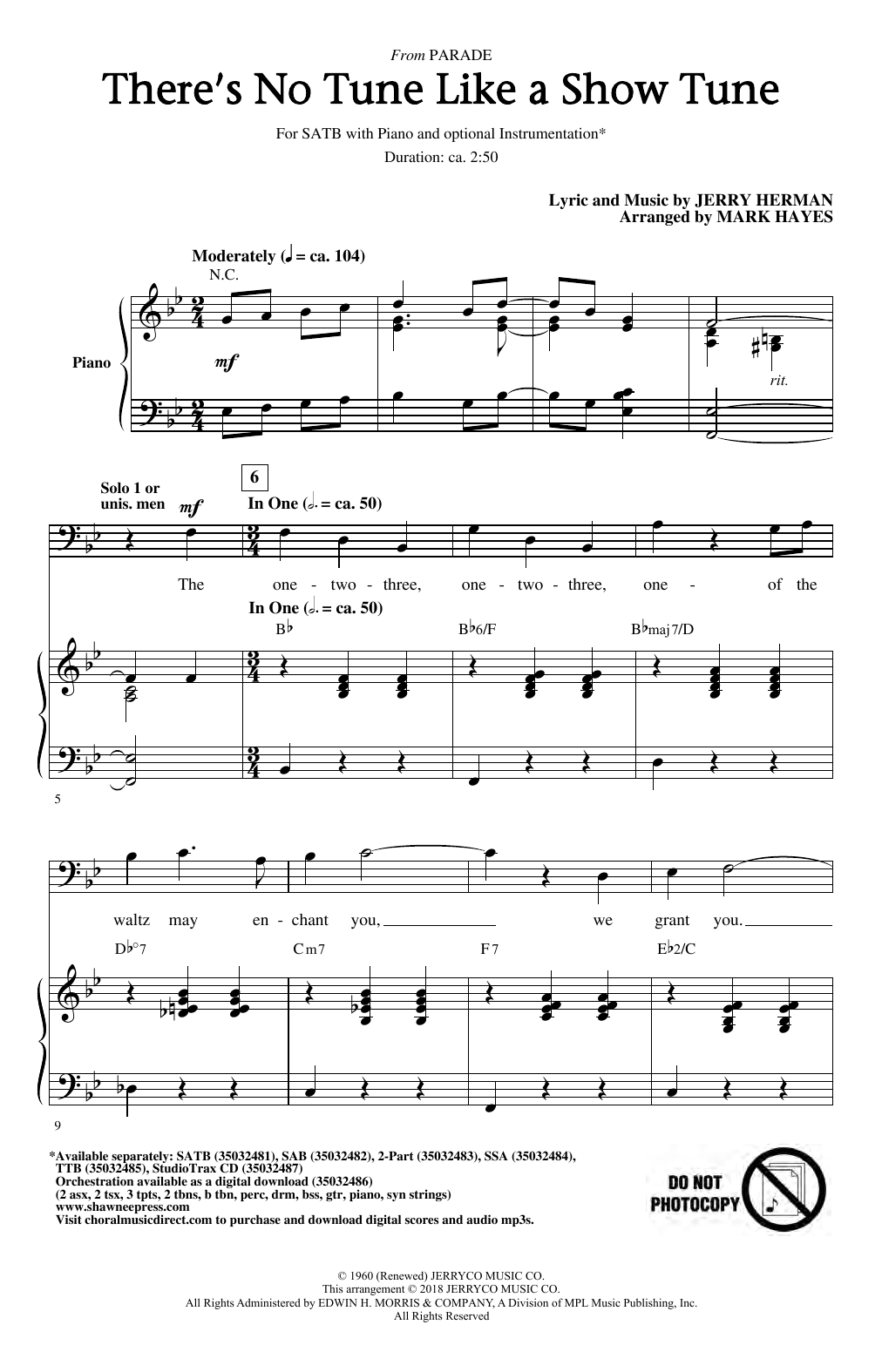There's No Tune Like A Show Tune (arr. Mark Hayes) (SATB Choir)