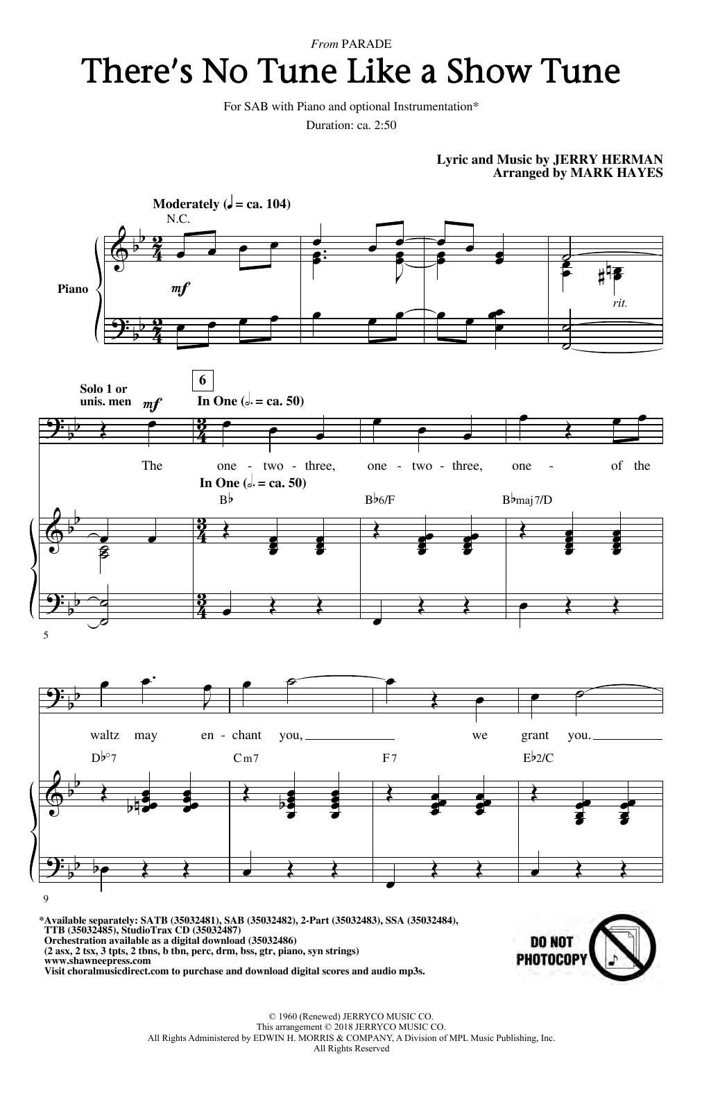 There's No Tune Like A Show Tune (arr. Mark Hayes) (SAB Choir)