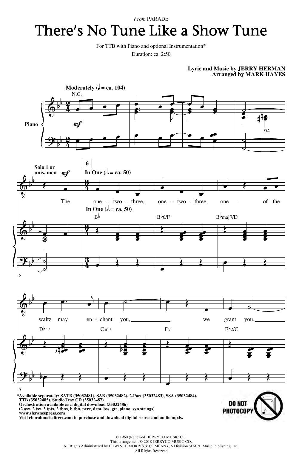 There's No Tune Like A Show Tune (arr. Mark Hayes) (TTBB Choir)