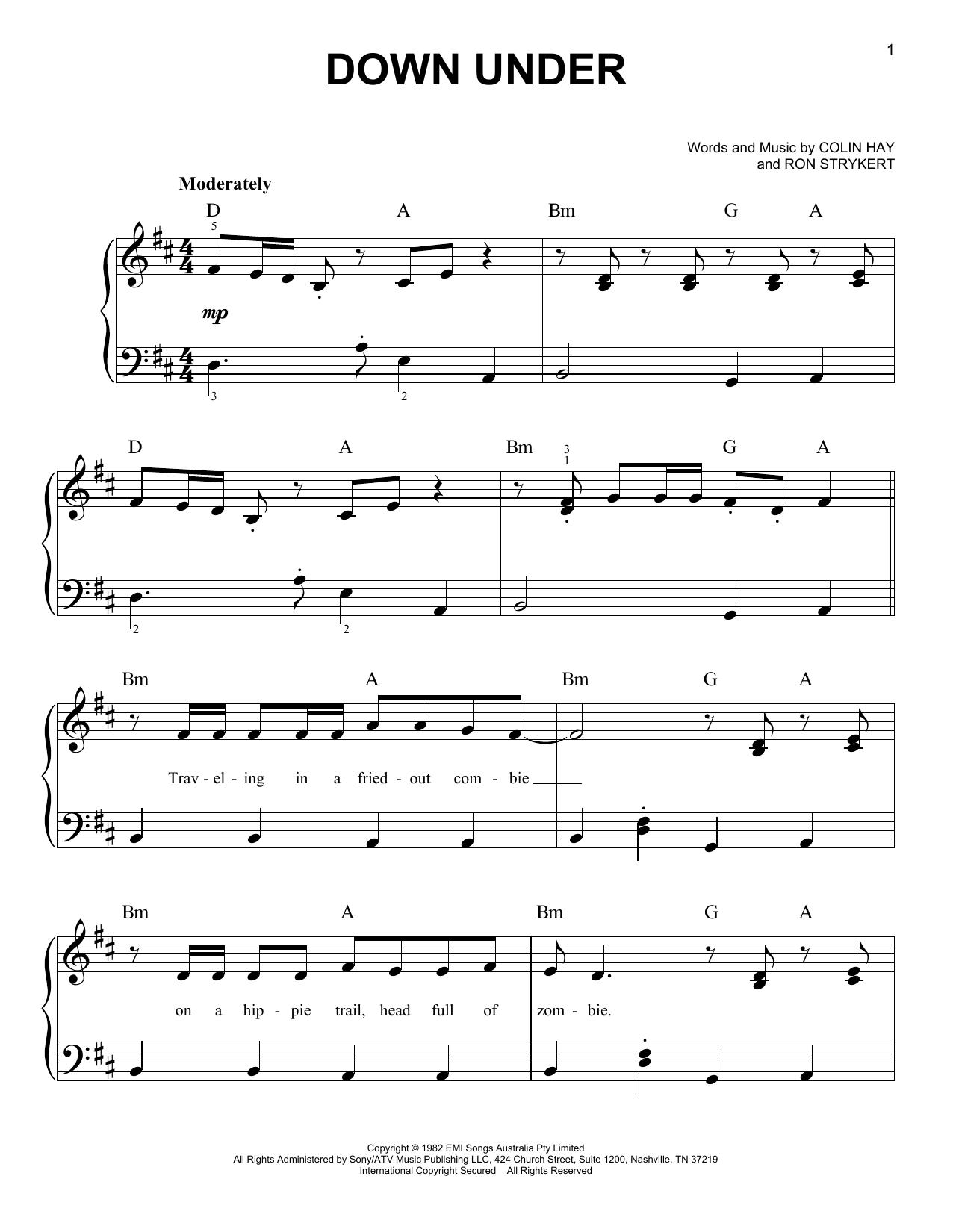 Down Under (Easy Piano)