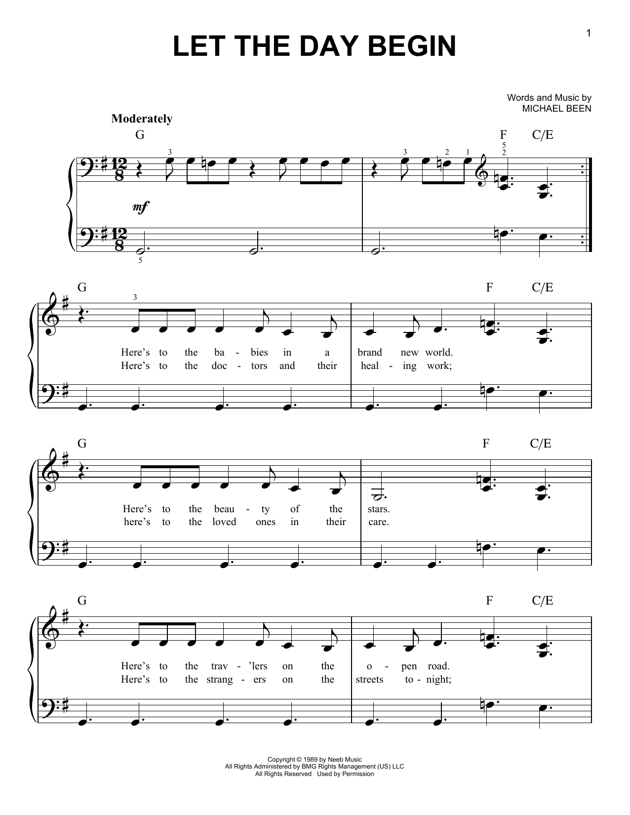 Let The Day Begin (Easy Piano)