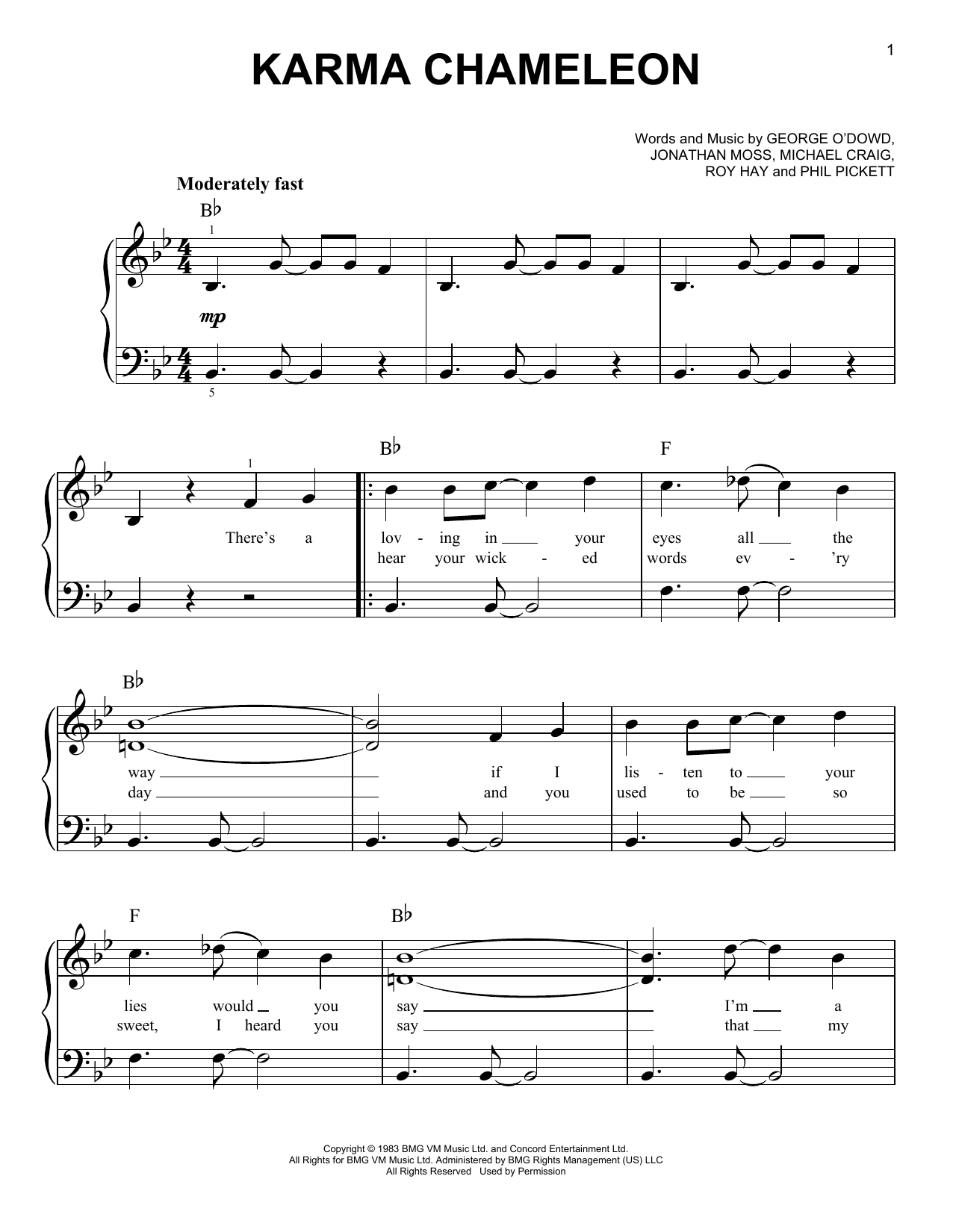 Karma Chameleon (Easy Piano)