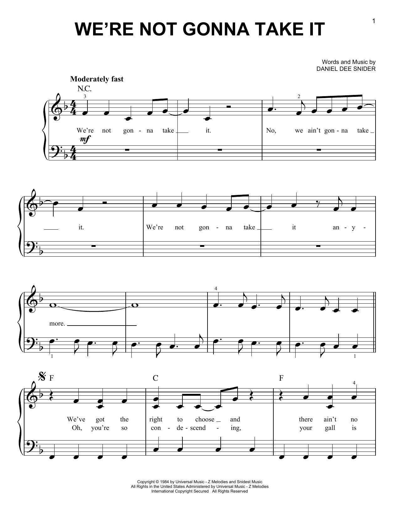 we're not gonna take it noten | twisted sister | klavier, leicht  sheet music direct