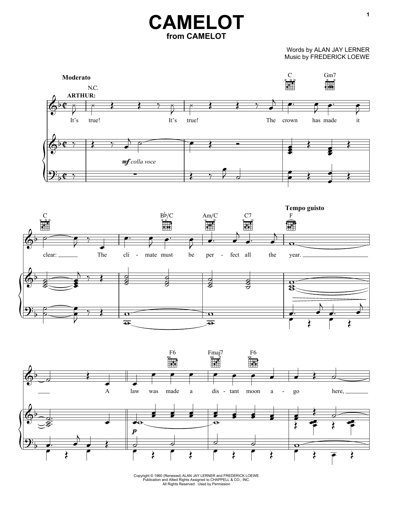 Camelot (Vocal Pro + Piano/Guitar)