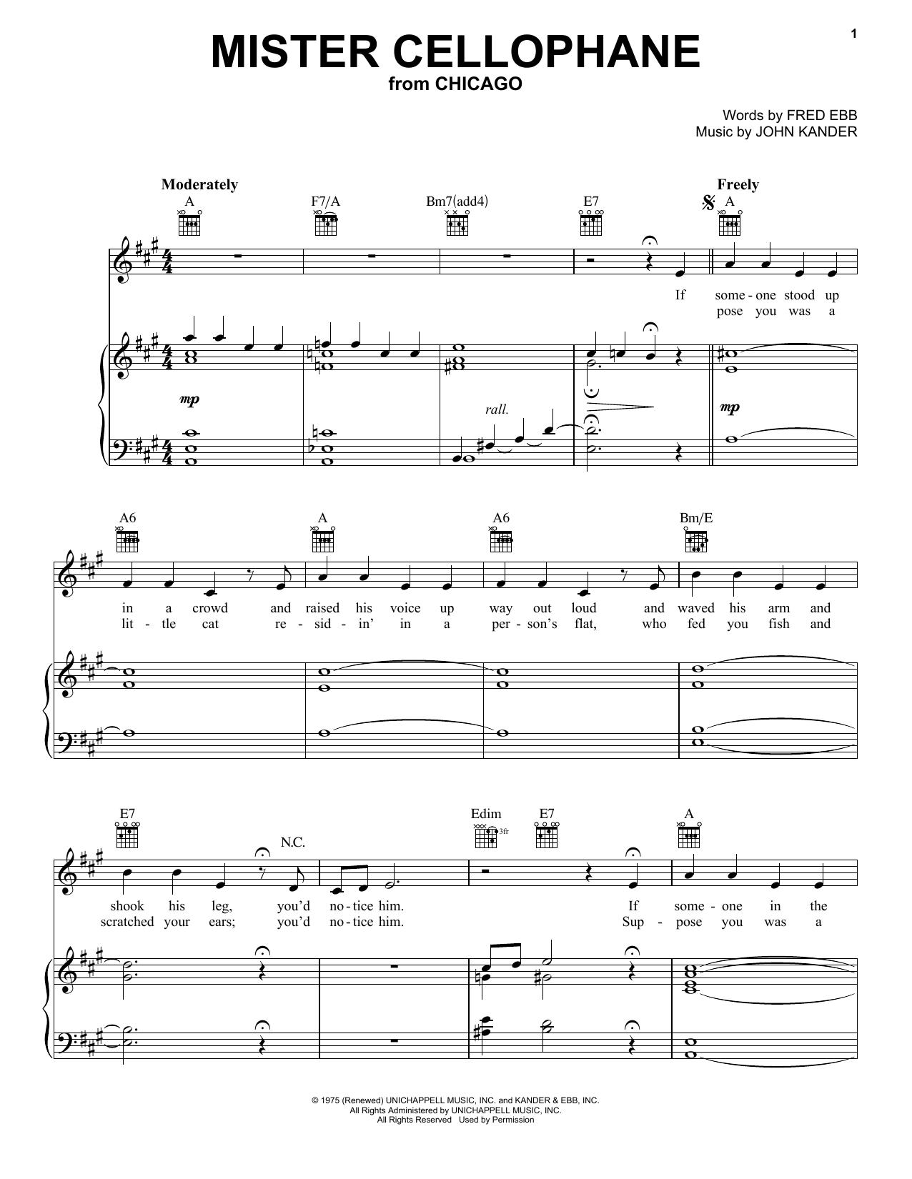 Mister Cellophane (Vocal Pro + Piano/Guitar)