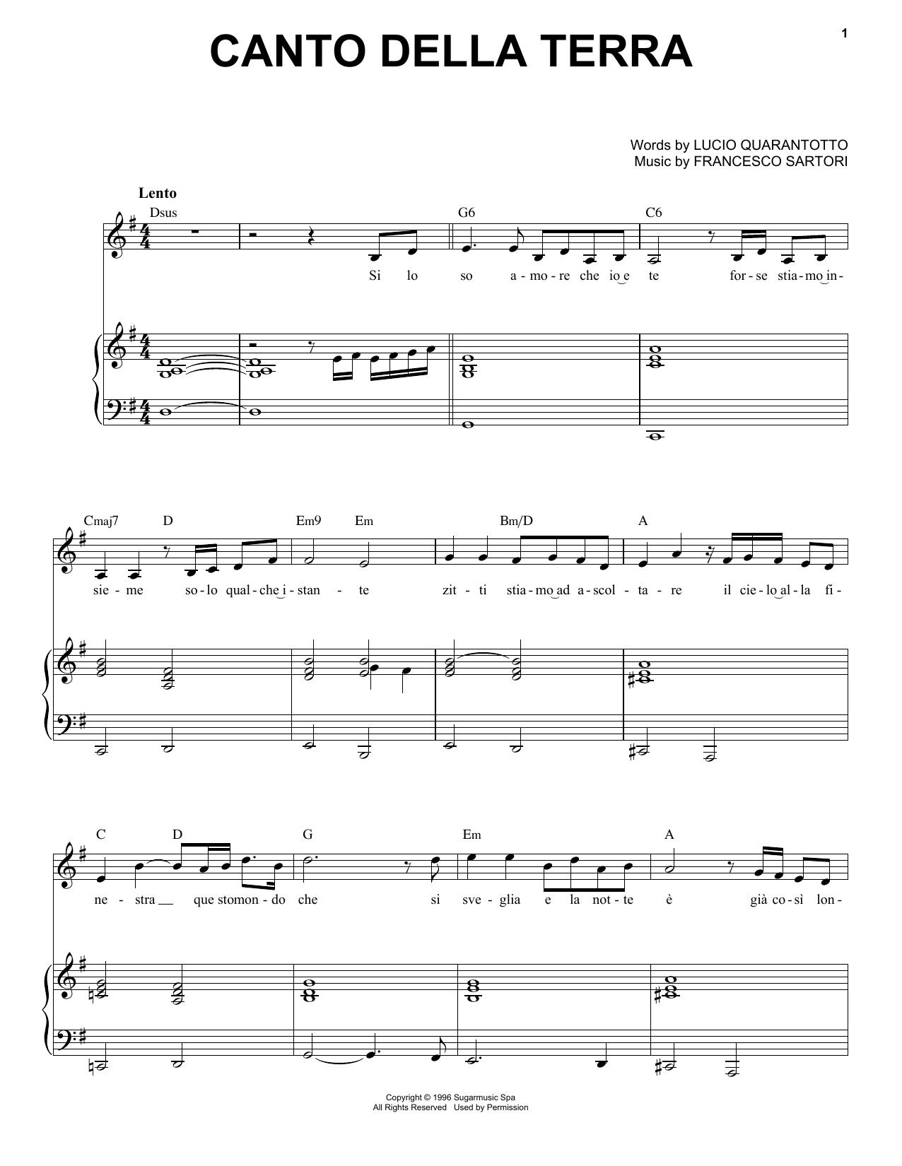 Canto Della Terra (Piano & Vocal)