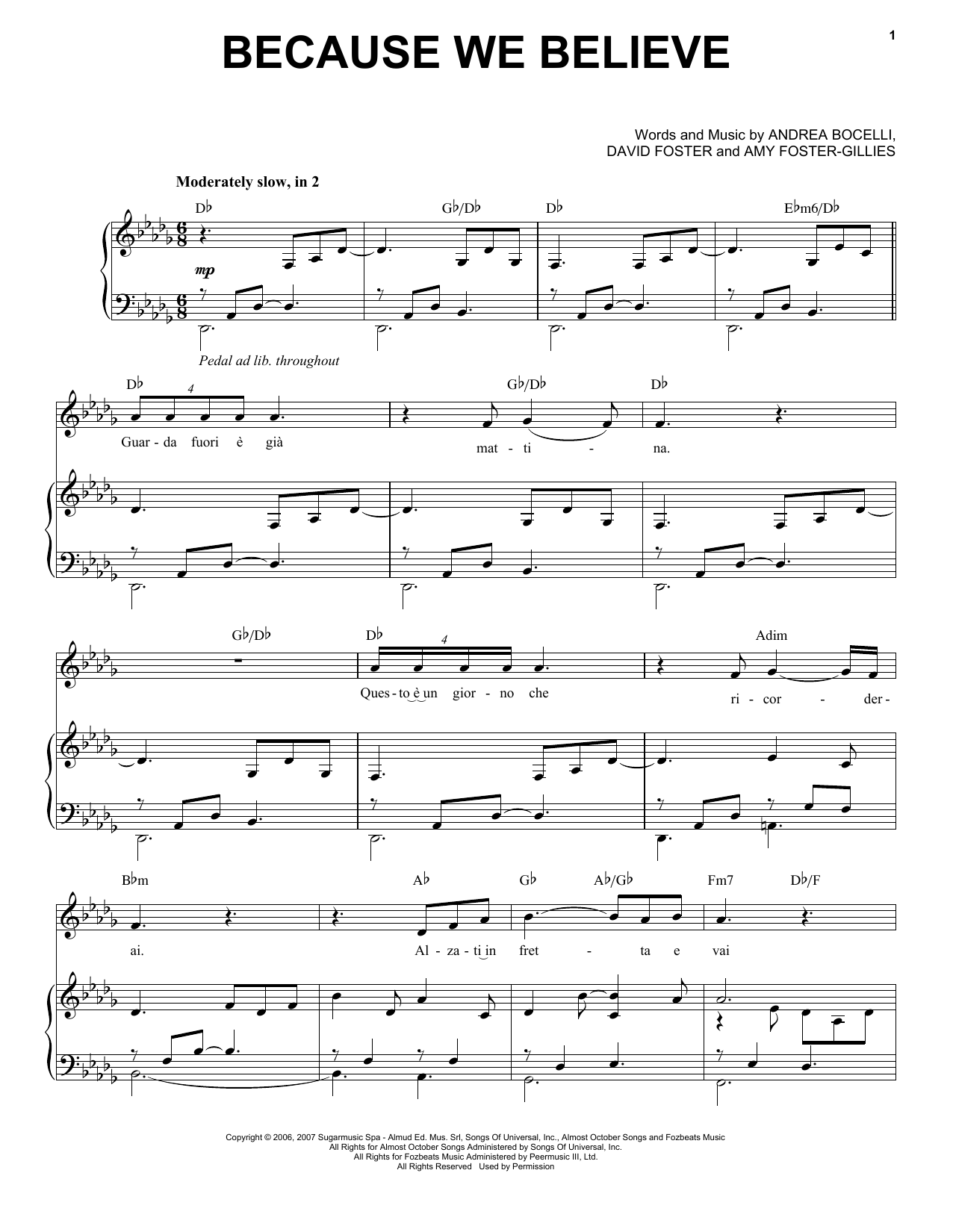 Because We Believe (Piano & Vocal)
