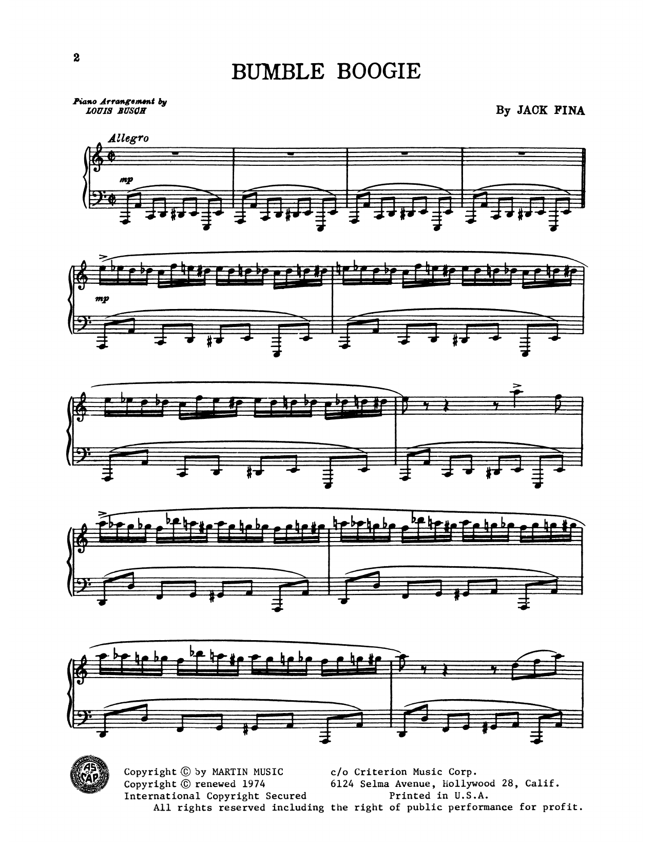 Bumble Boogie - SHEET MUSIC - Jack Fina's famous boogie ...