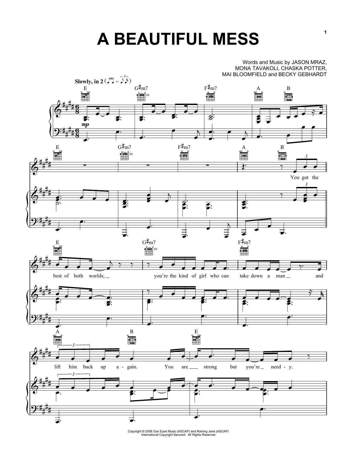 A Beautiful Mess (Piano, Vocal & Guitar (Right-Hand Melody))
