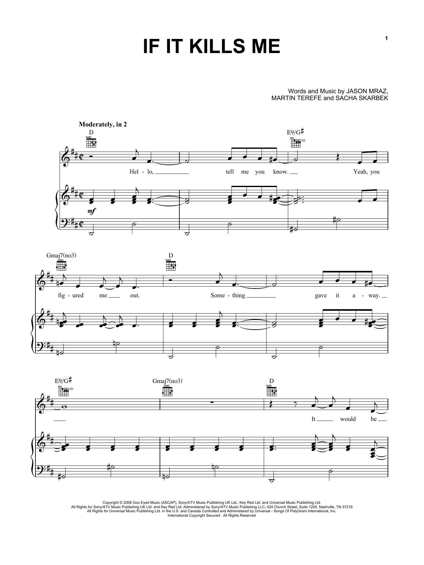 If It Kills Me (Piano, Vocal & Guitar (Right-Hand Melody))