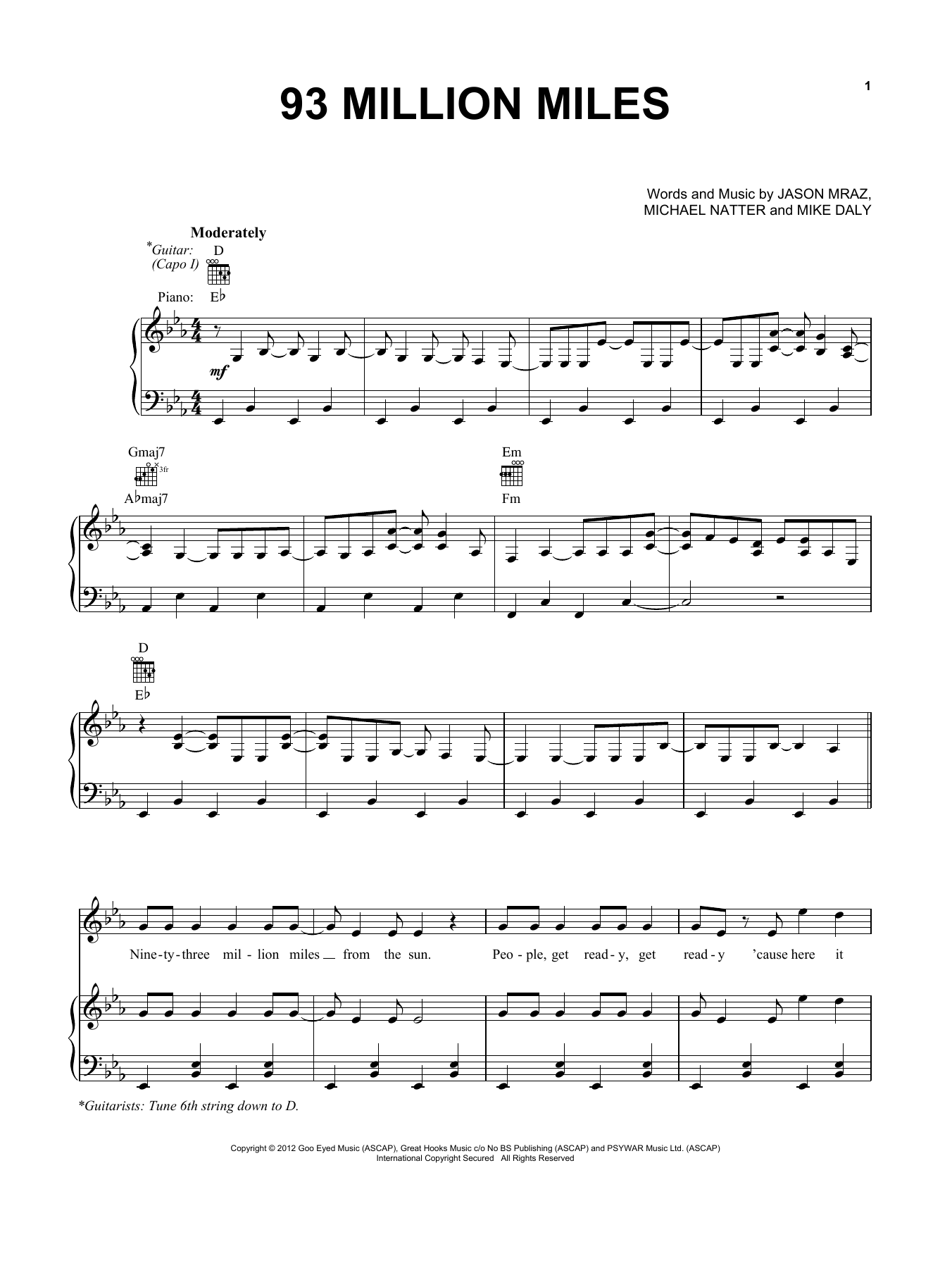 93 Million Miles (Piano, Vocal & Guitar (Right-Hand Melody))