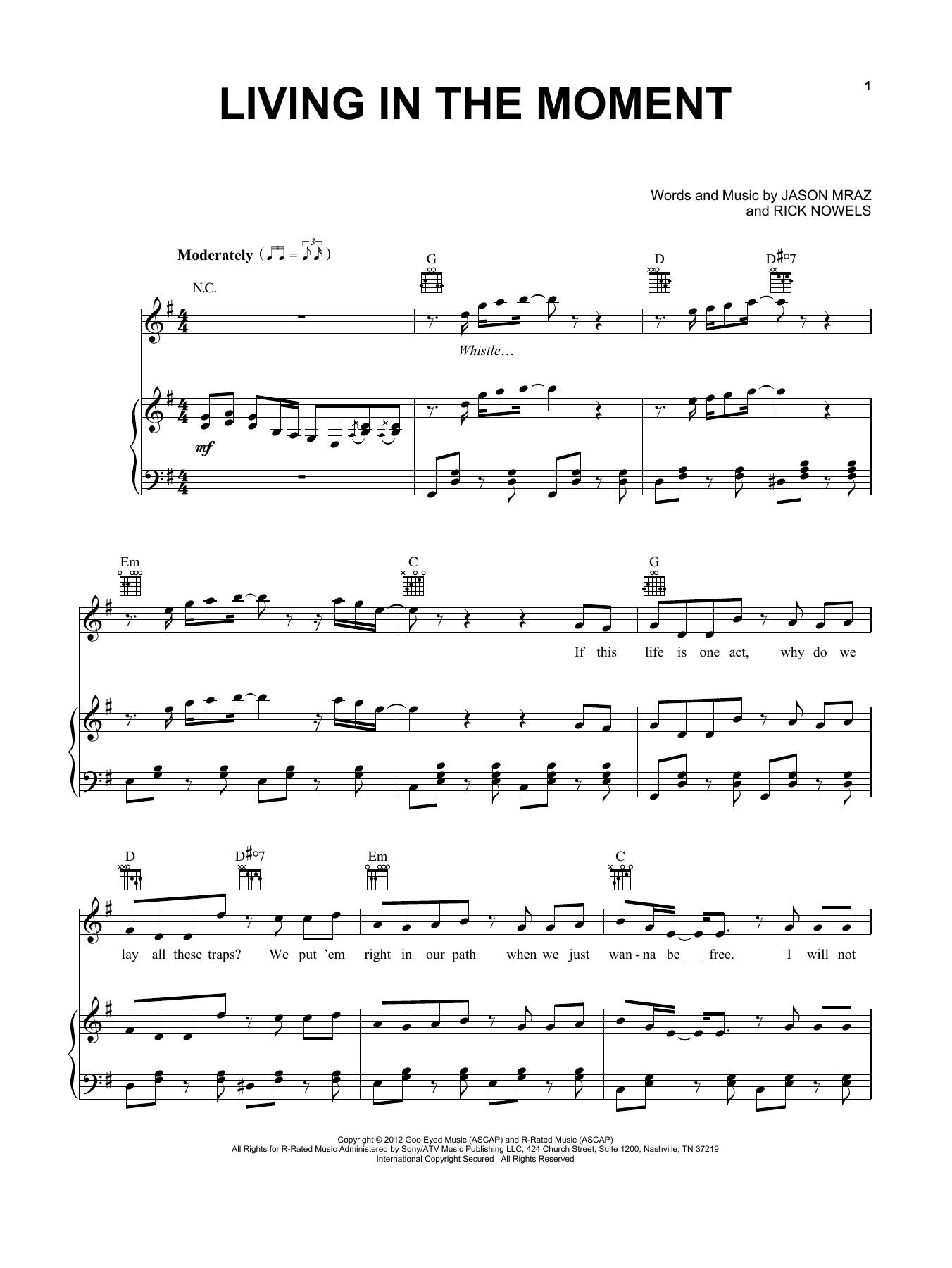 Living In The Moment (Piano, Vocal & Guitar (Right-Hand Melody))