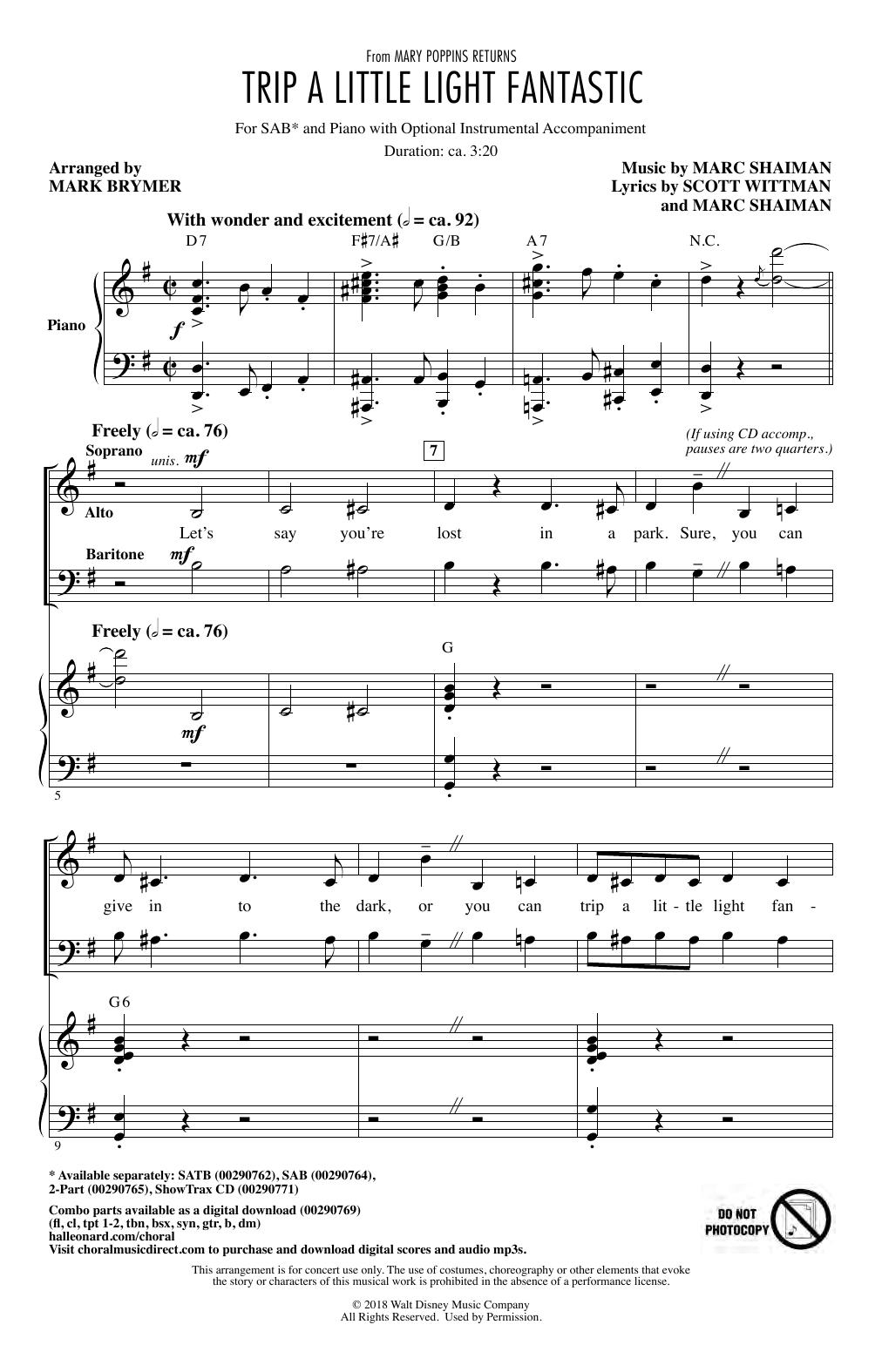Trip A Little Light Fantastic (from Mary Poppins Returns) (arr. Mark Brymer) (SAB Choir)