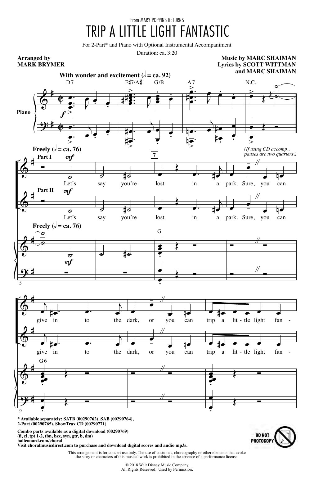 Trip A Little Light Fantastic (from Mary Poppins Returns) (arr. Mark Brymer) (2-Part Choir)