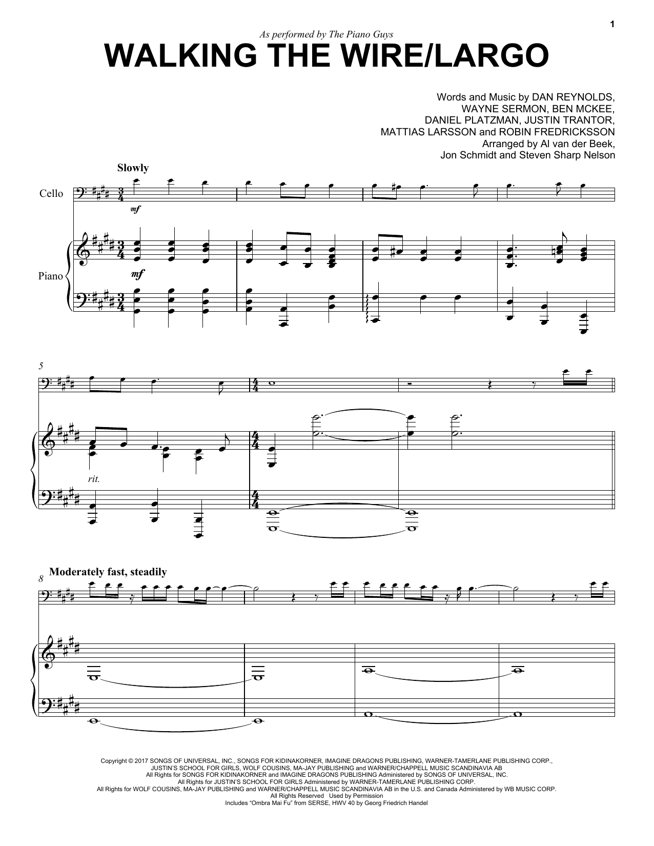Walking The Wire / Largo (Cello and Piano)