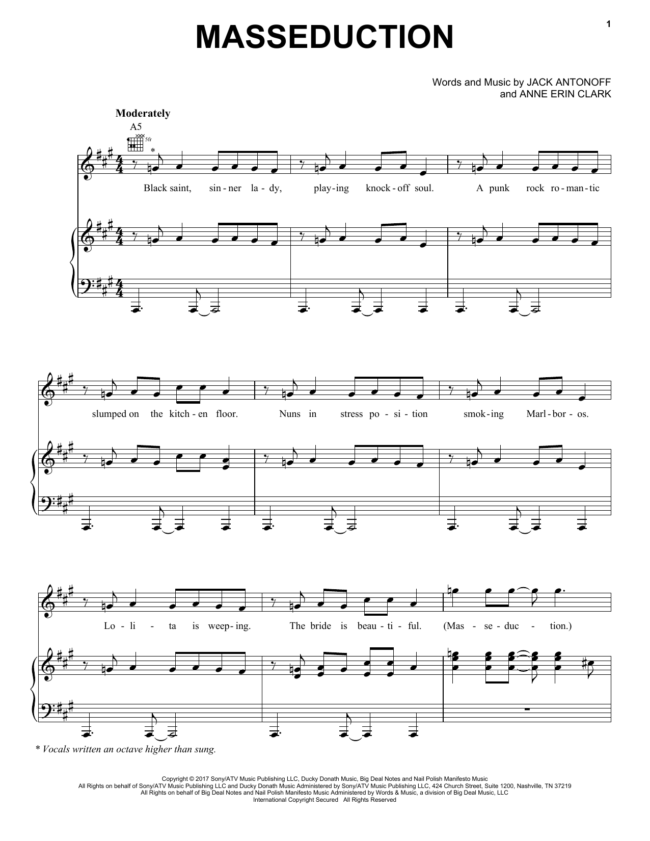 Masseduction (Piano, Vocal & Guitar (Right-Hand Melody))