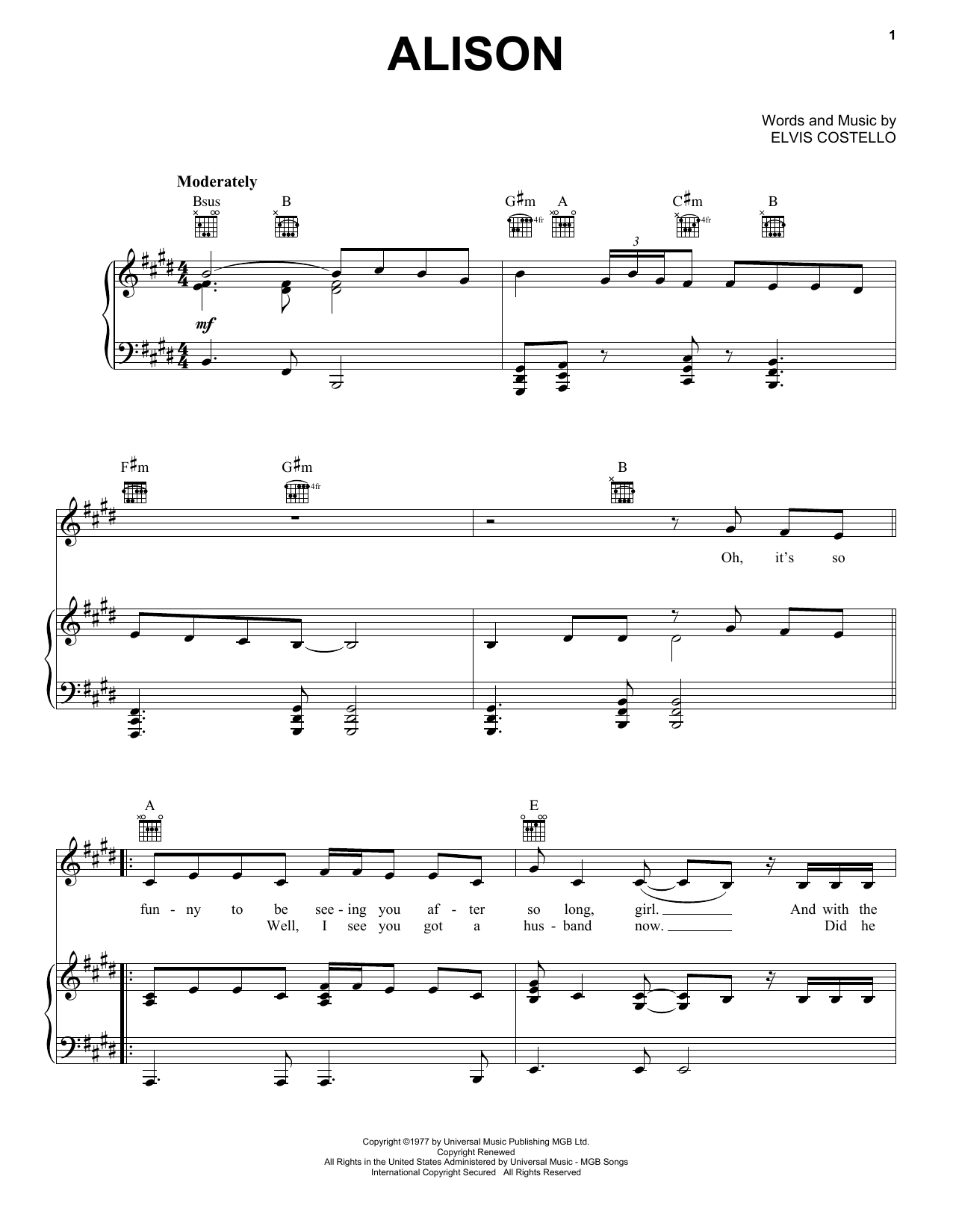 Alison Sheet Music