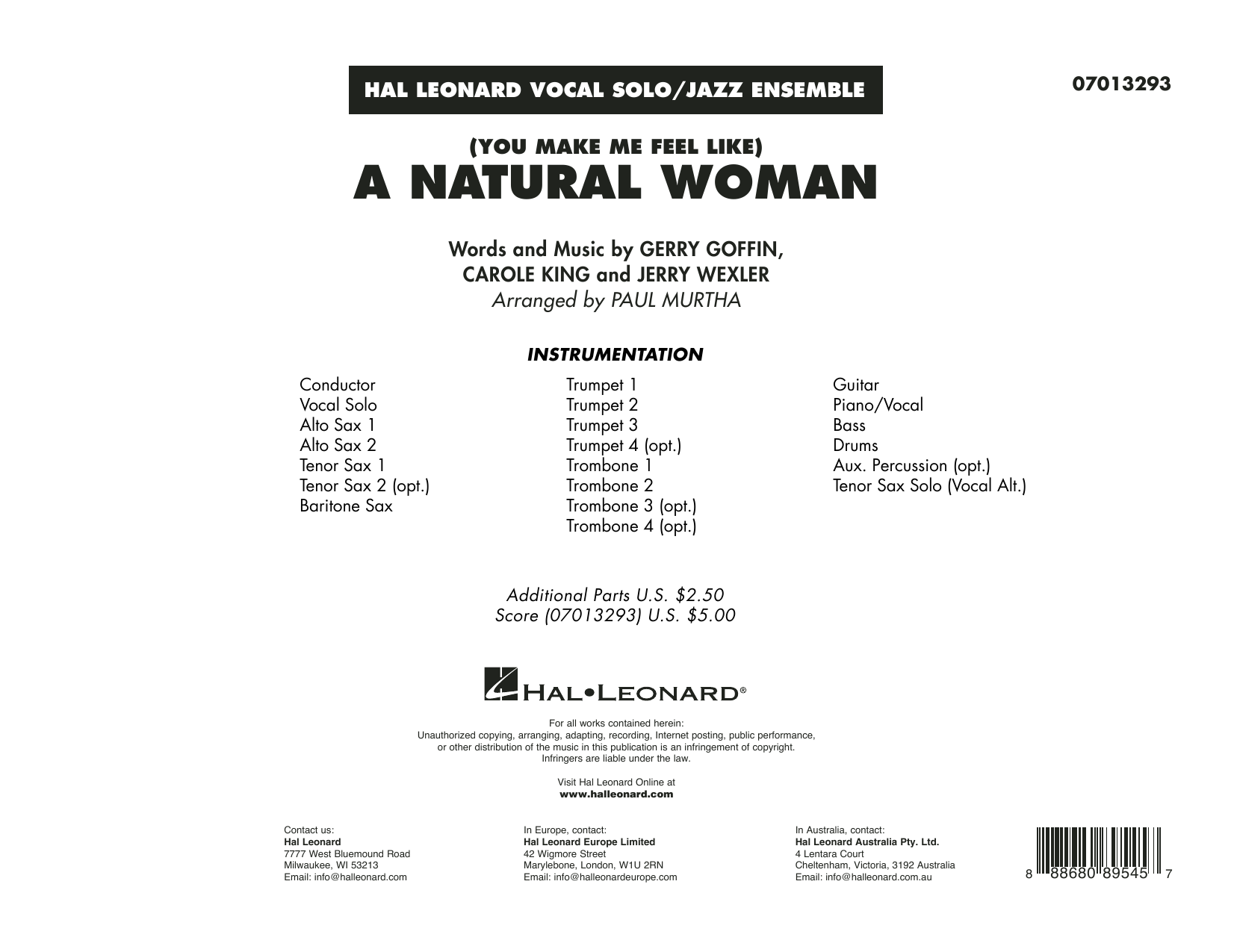 (You Make Me Feel Like) A Natural Woman (arr  Paul Murtha) - Tenor Sax 1 by  Jerry Wexler, Gerry Goffin - Hal Leonard - Prima Music
