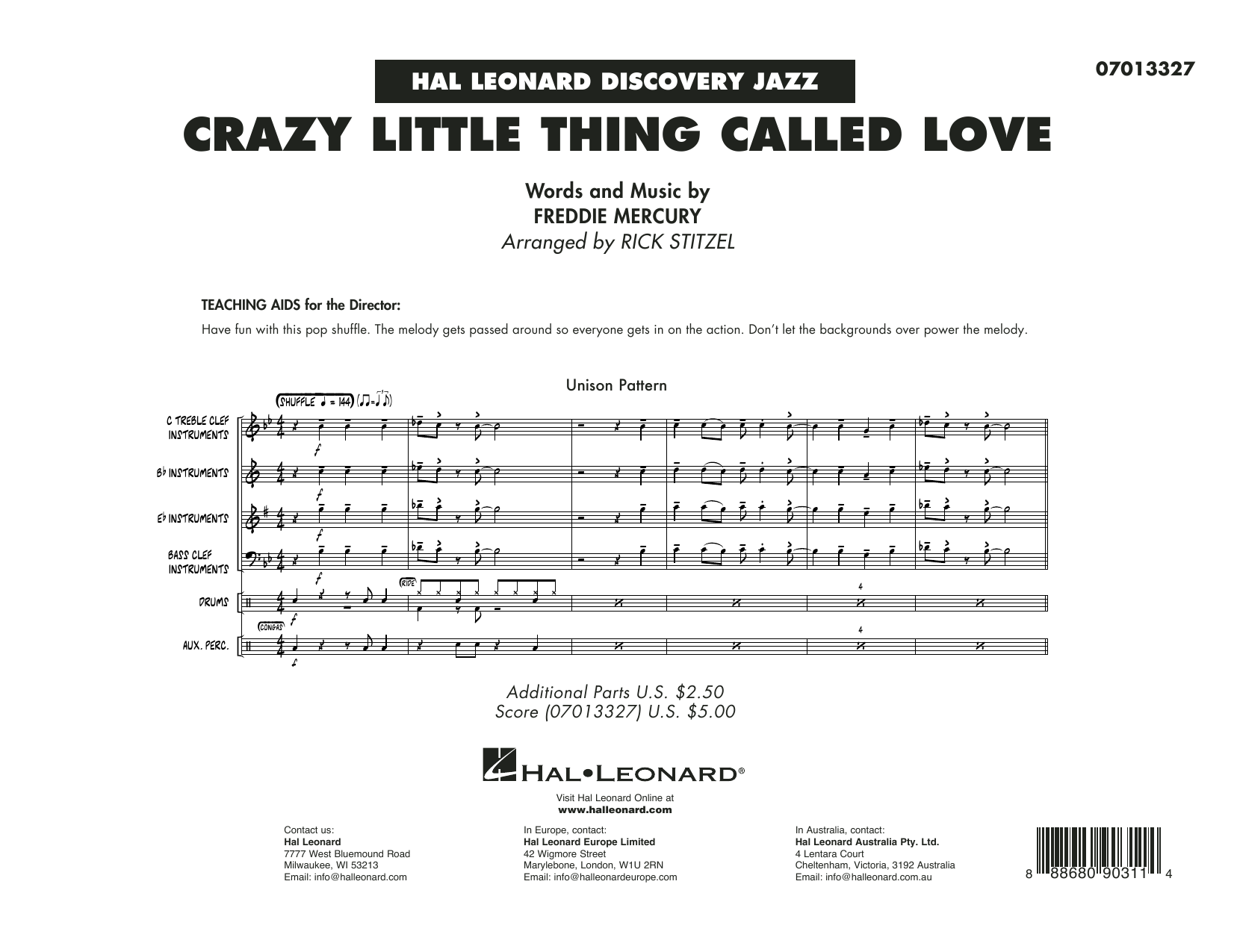 Crazy Little Thing Called Love (arr. Rick Stitzel) - Conductor Score (Full Score) (Jazz Ensemble)