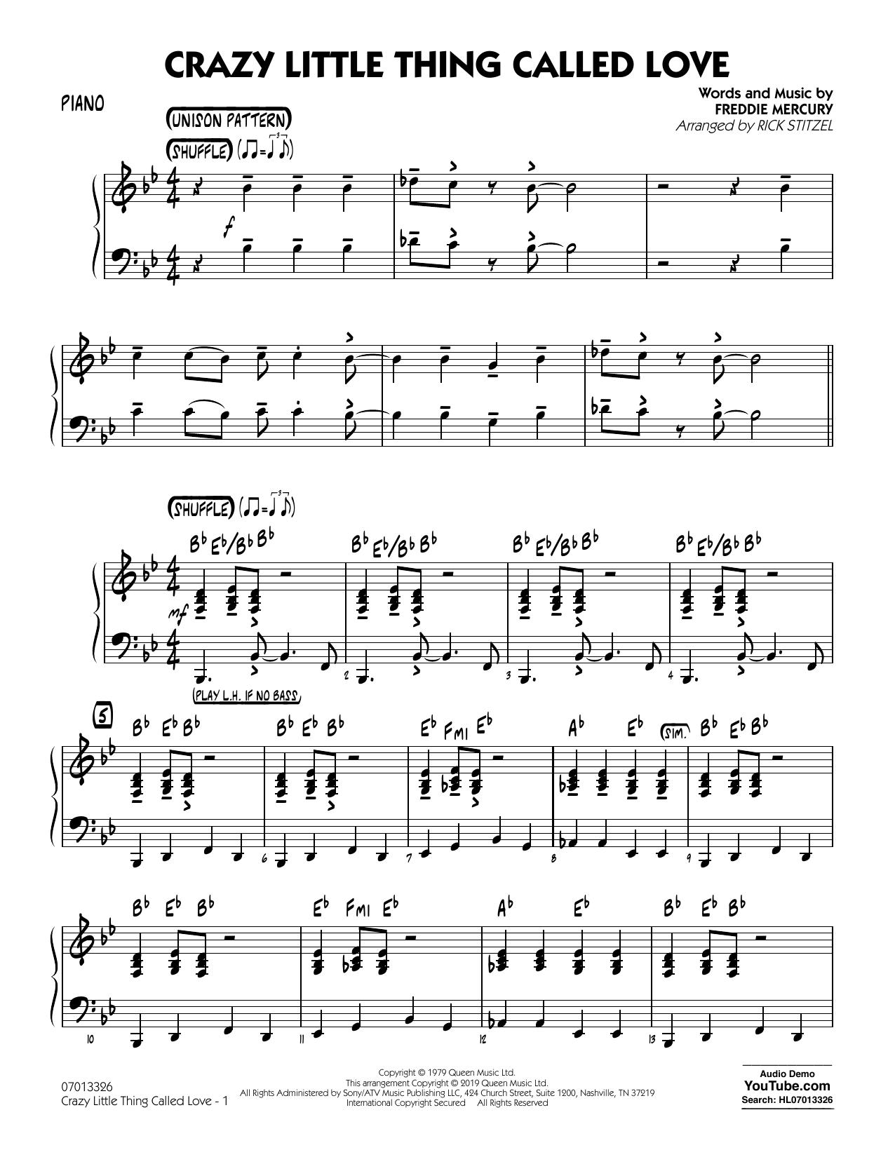 Crazy Little Thing Called Love (arr. Rick Stitzel) - Piano (Jazz Ensemble)