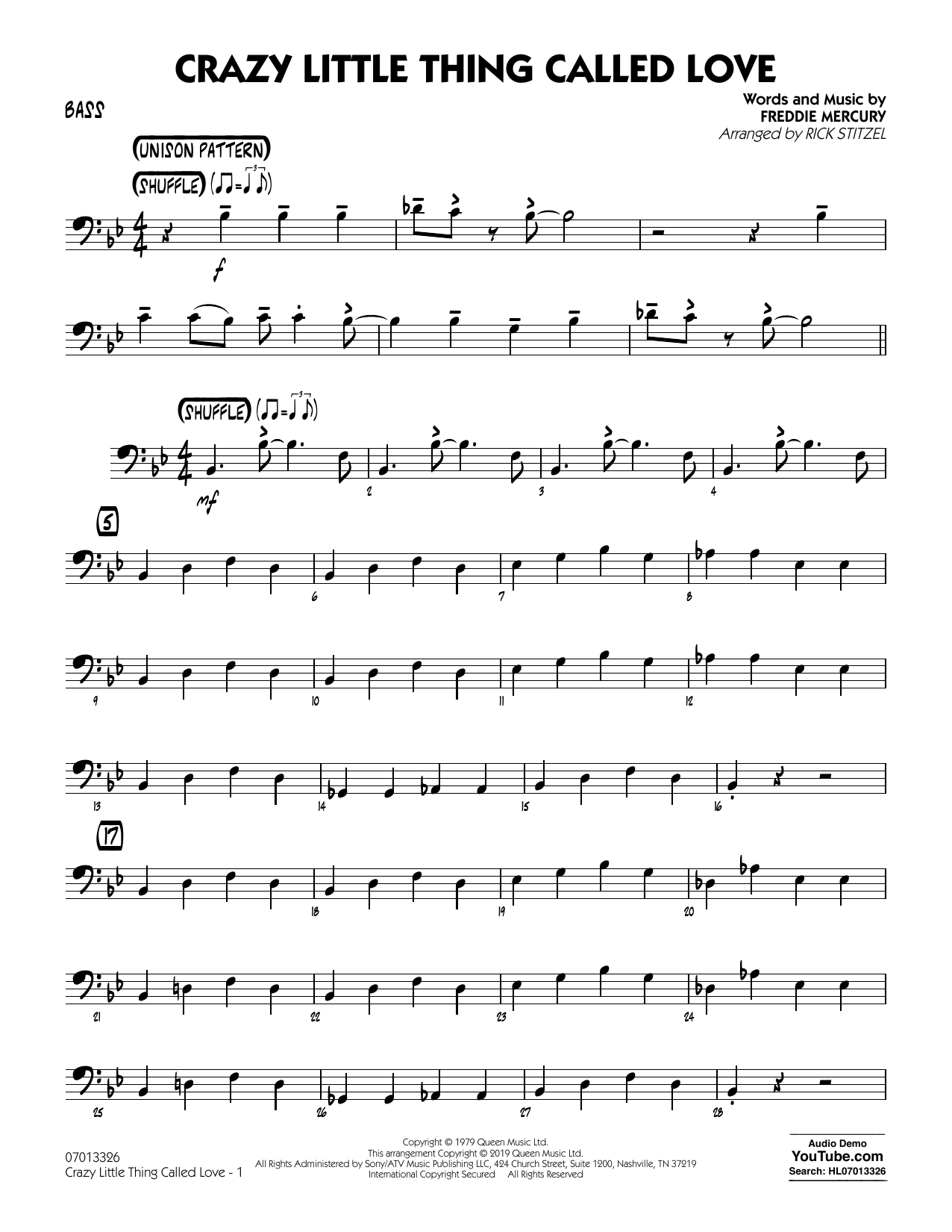 Crazy Little Thing Called Love (arr. Rick Stitzel) - Bass (Jazz Ensemble)