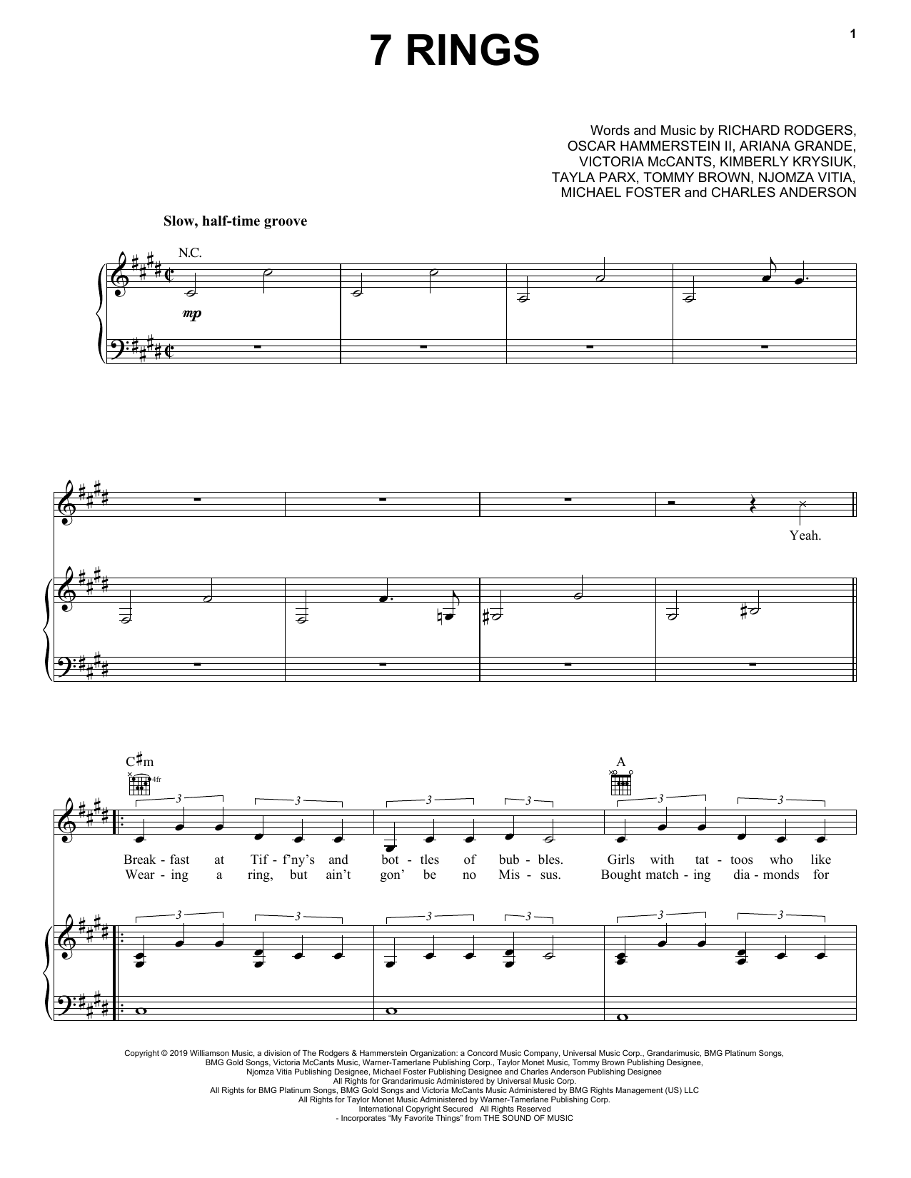 7 Rings (Piano, Vocal & Guitar (Right-Hand Melody))