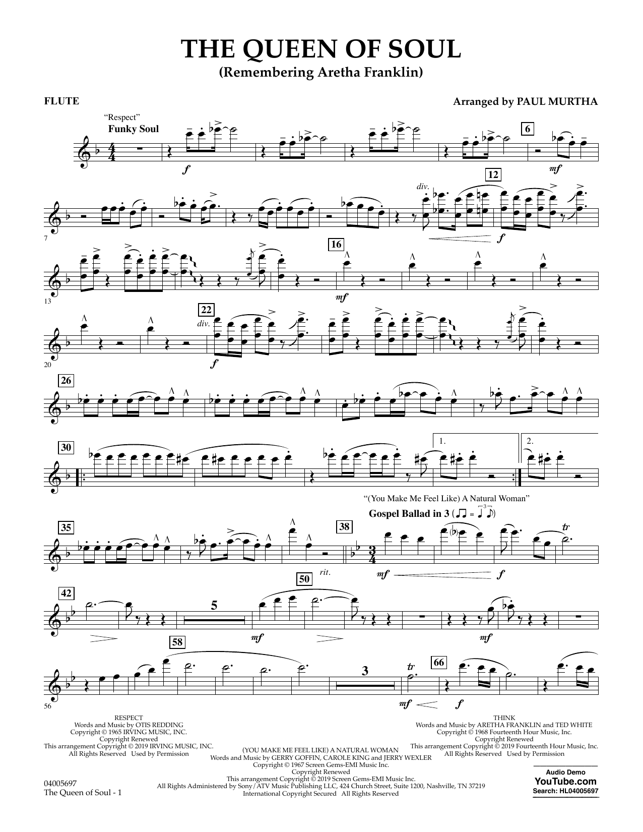 The Queen Of Soul (arr. Paul Murtha)- Conductor Score (Full Score) - Flute (Concert Band)