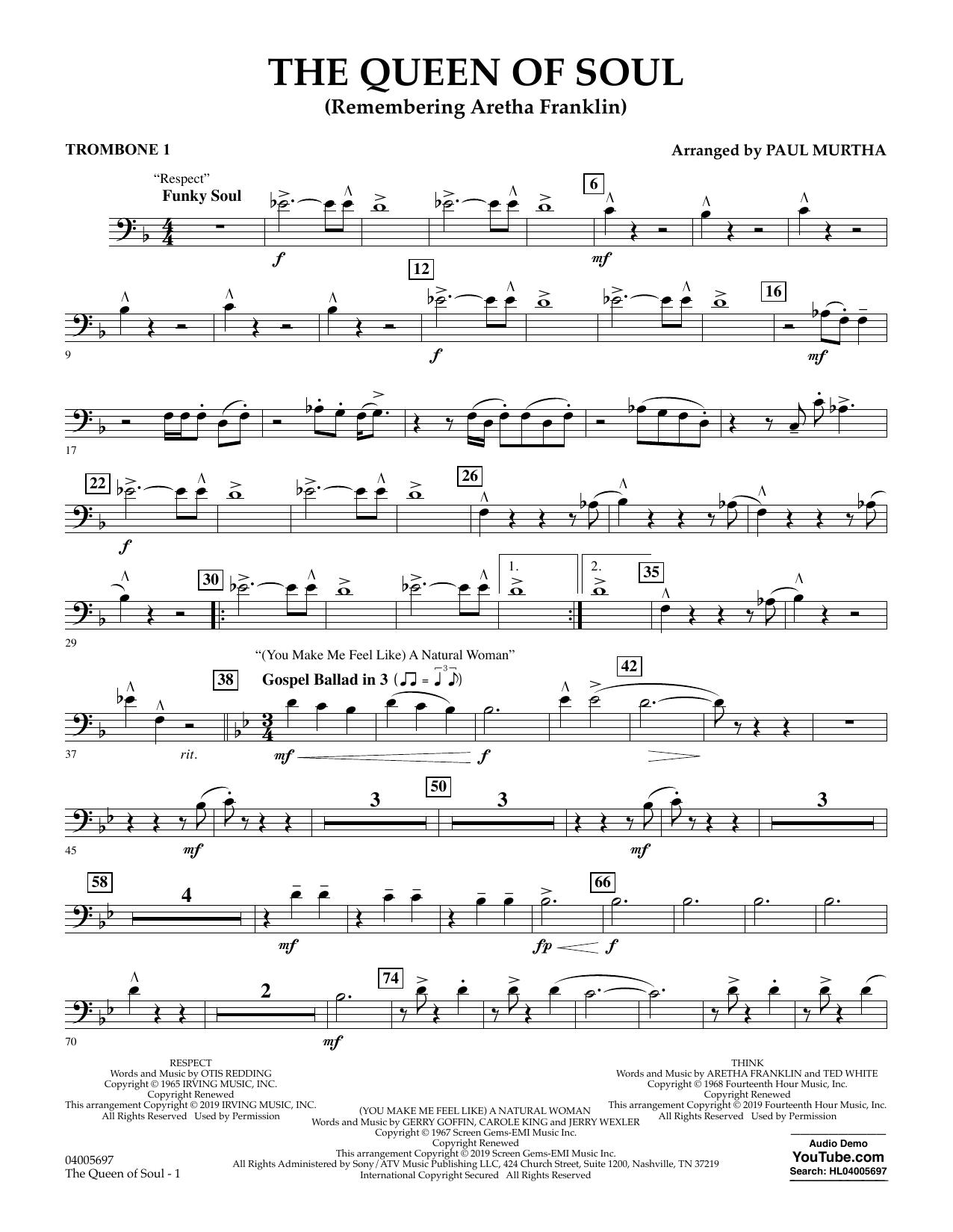 The Queen Of Soul (arr. Paul Murtha)- Conductor Score (Full Score) - Trombone 1 (Concert Band)