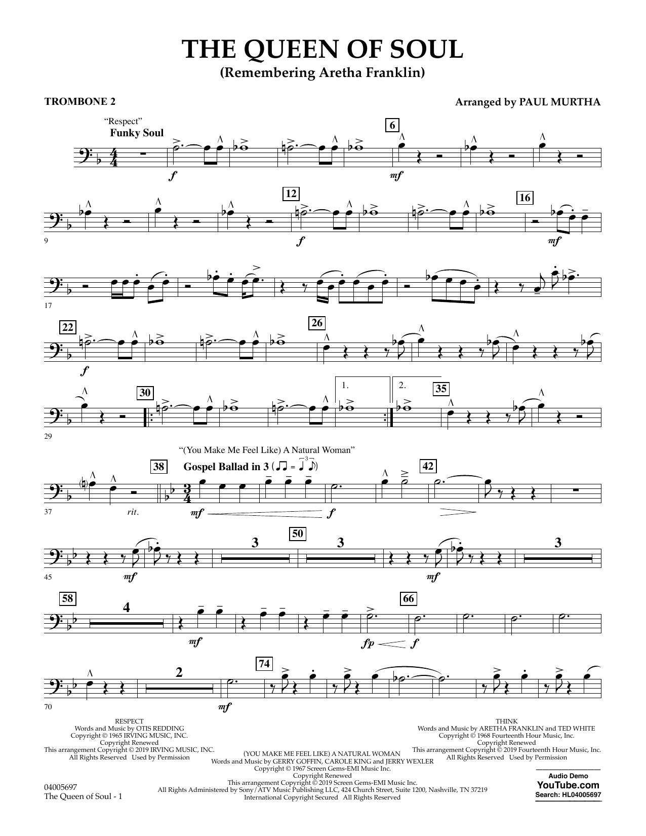 The Queen Of Soul (arr. Paul Murtha)- Conductor Score (Full Score) - Trombone 2 (Concert Band)
