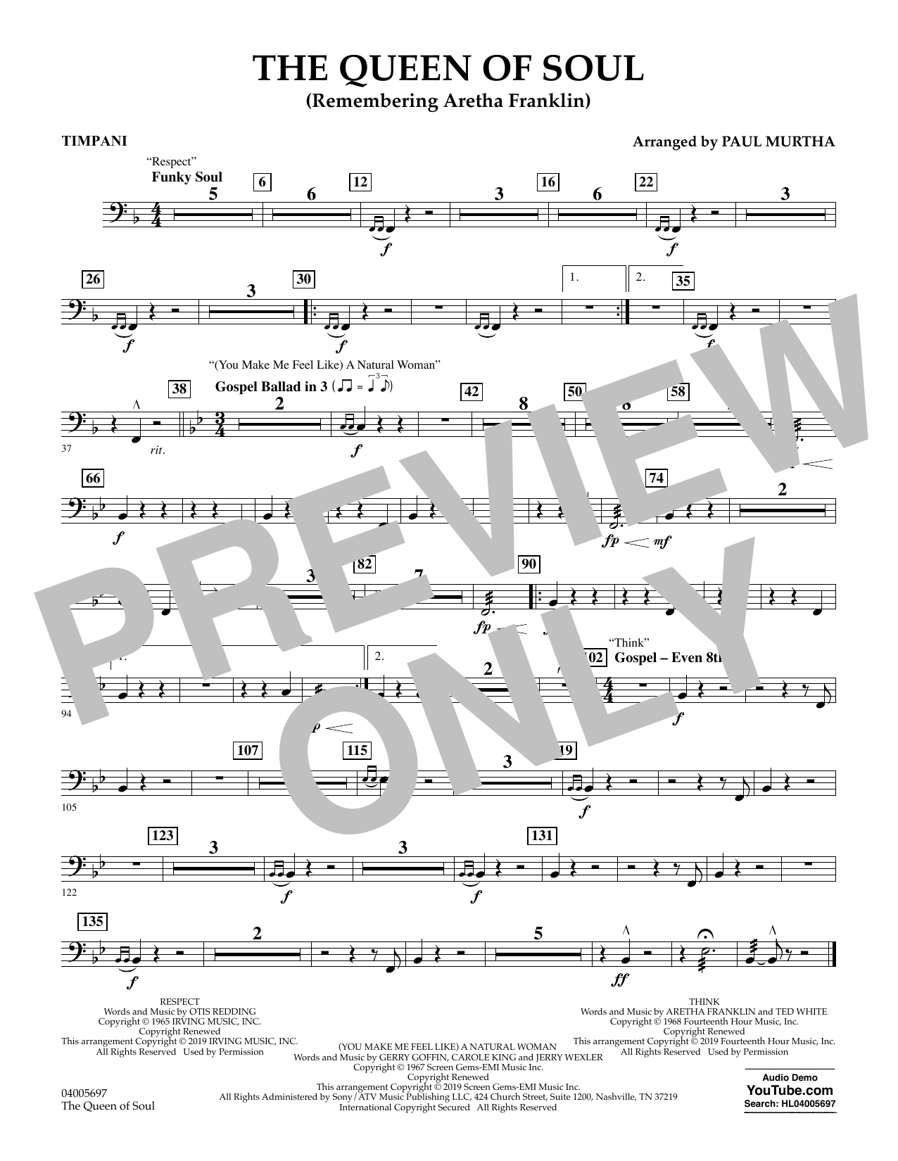 The Queen Of Soul (arr. Paul Murtha)- Conductor Score (Full Score) - Timpani (Concert Band)