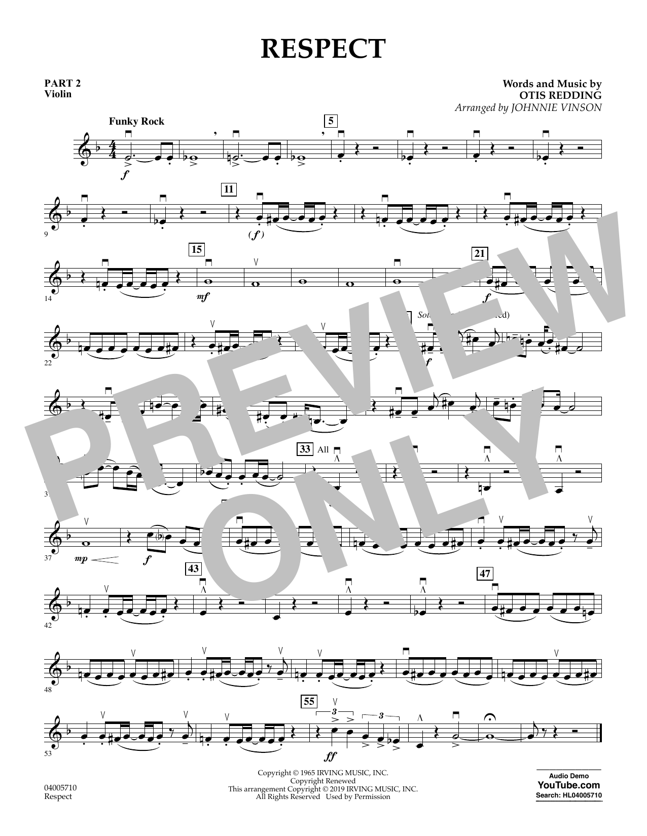 Respect (arr. Johnnie Vinson) - Pt.2 - Violin (Concert Band: Flex-Band)